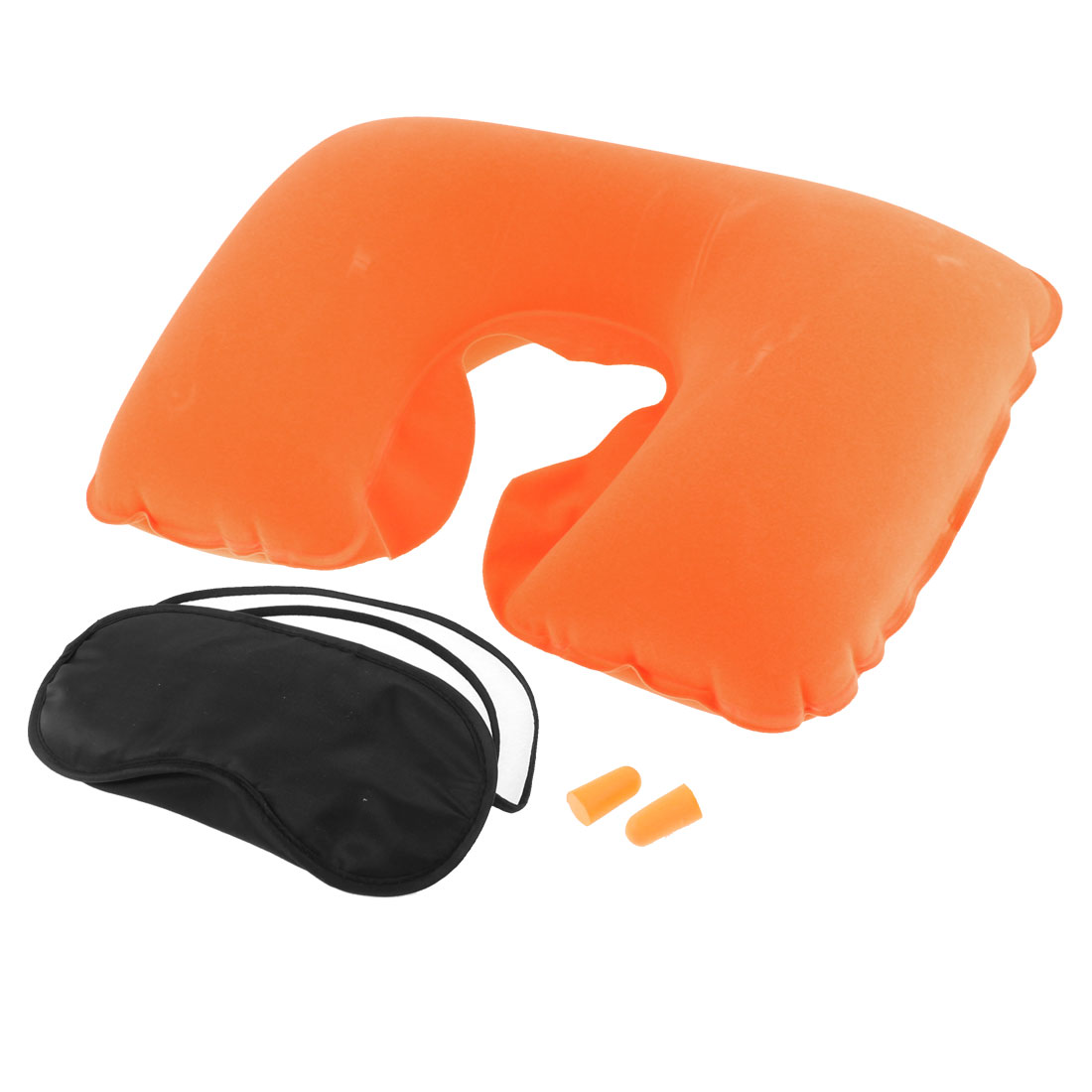Travel Camping Sleeping Inflatable Pillow Eye Mask Earphone Orange 3 in 1
