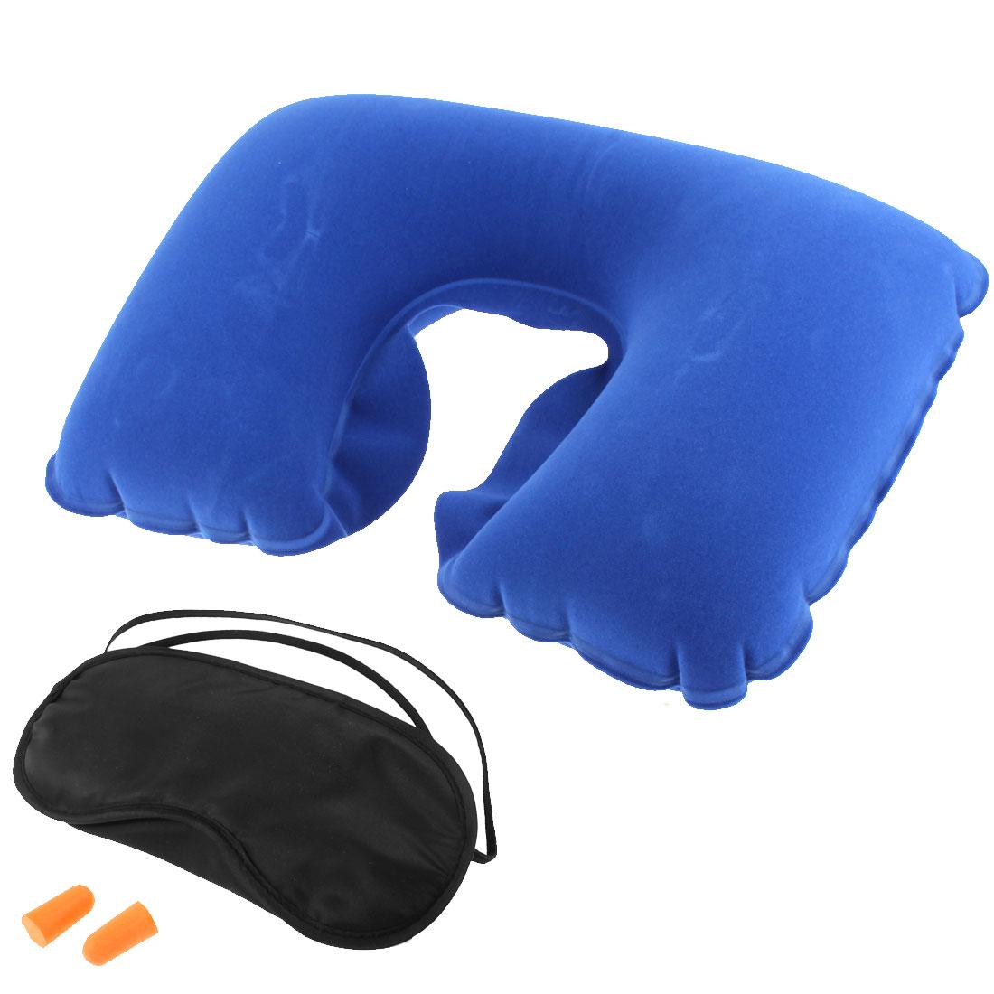 Travel Sleeping Relaxing Inflatable Fleece Neck Pillow Eye Mask Earplugs 3 in 1