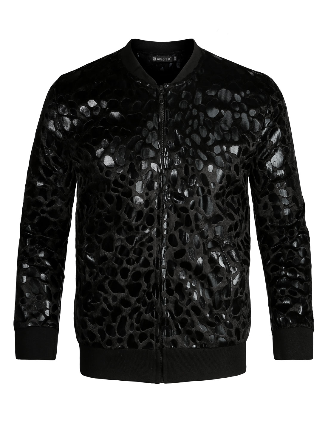 Men Stand Collar Leopard Zip Up Plush Jacket Black L