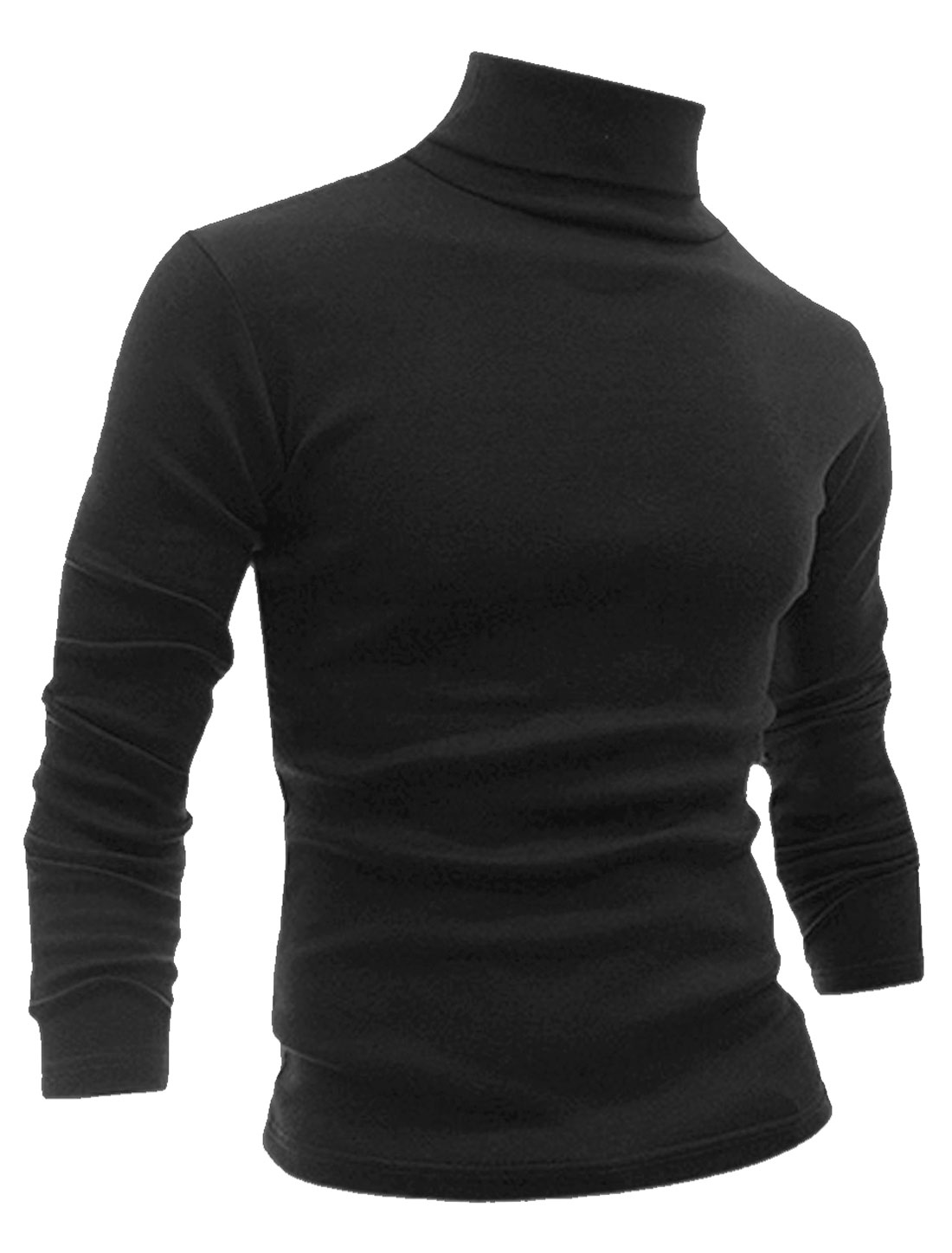 Man Long Sleeve Turtle Neck Slim Fit Casual T-shirt Black S