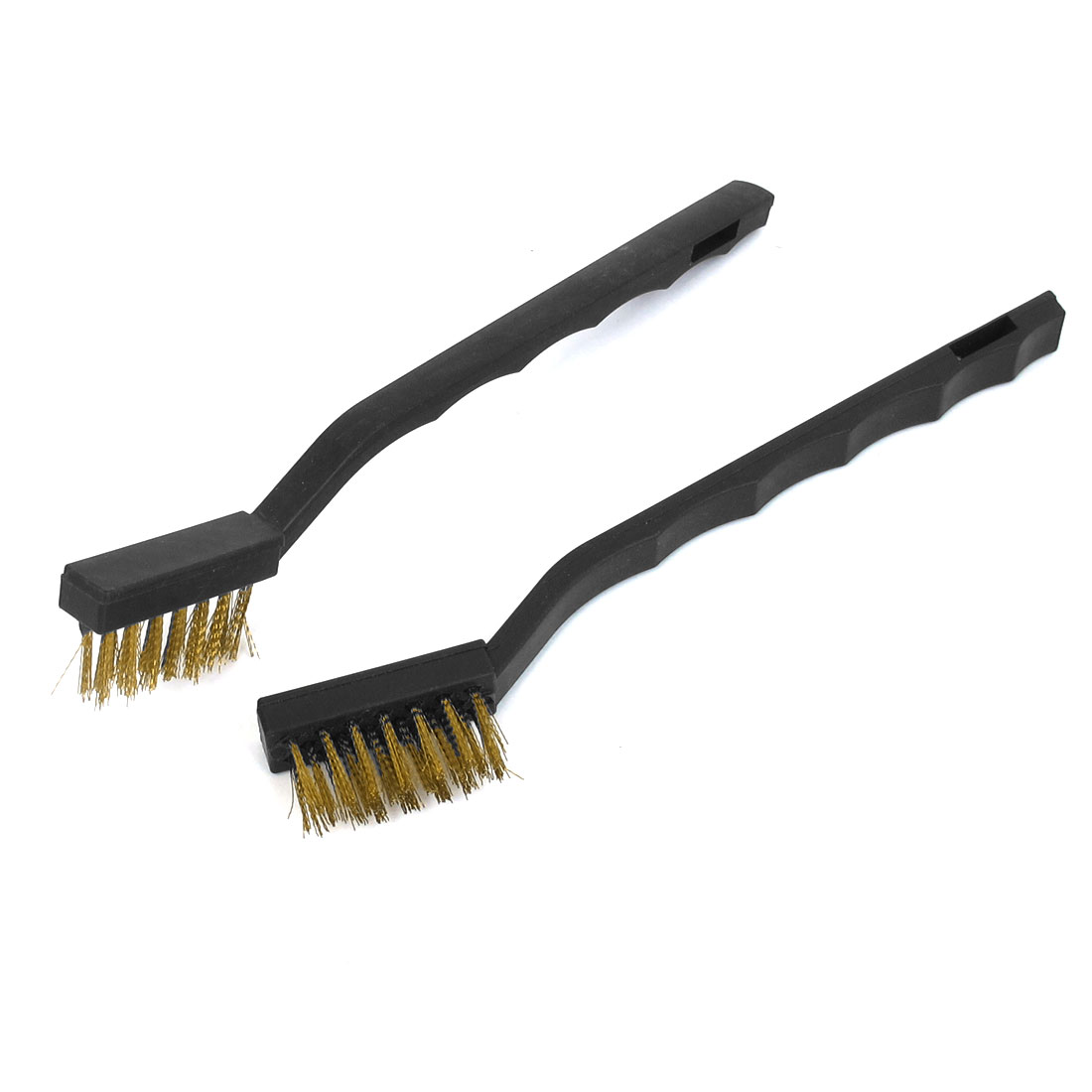 Black Plastic Handle Brass Wire Cleaning Tooth Brush 2pcs