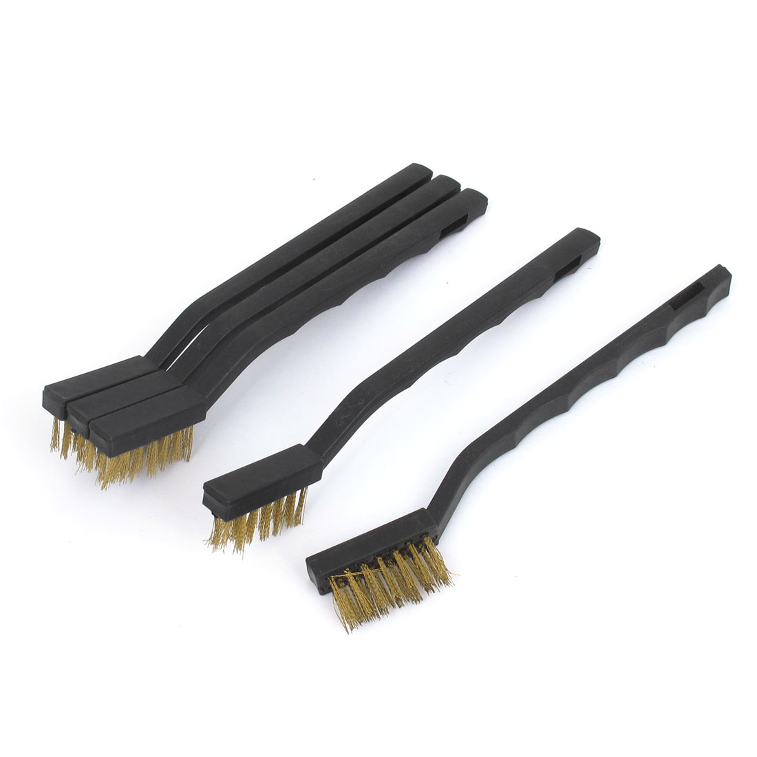 Black Plastic Handle Brass Wire Cleaning Tooth Brush 5pcs