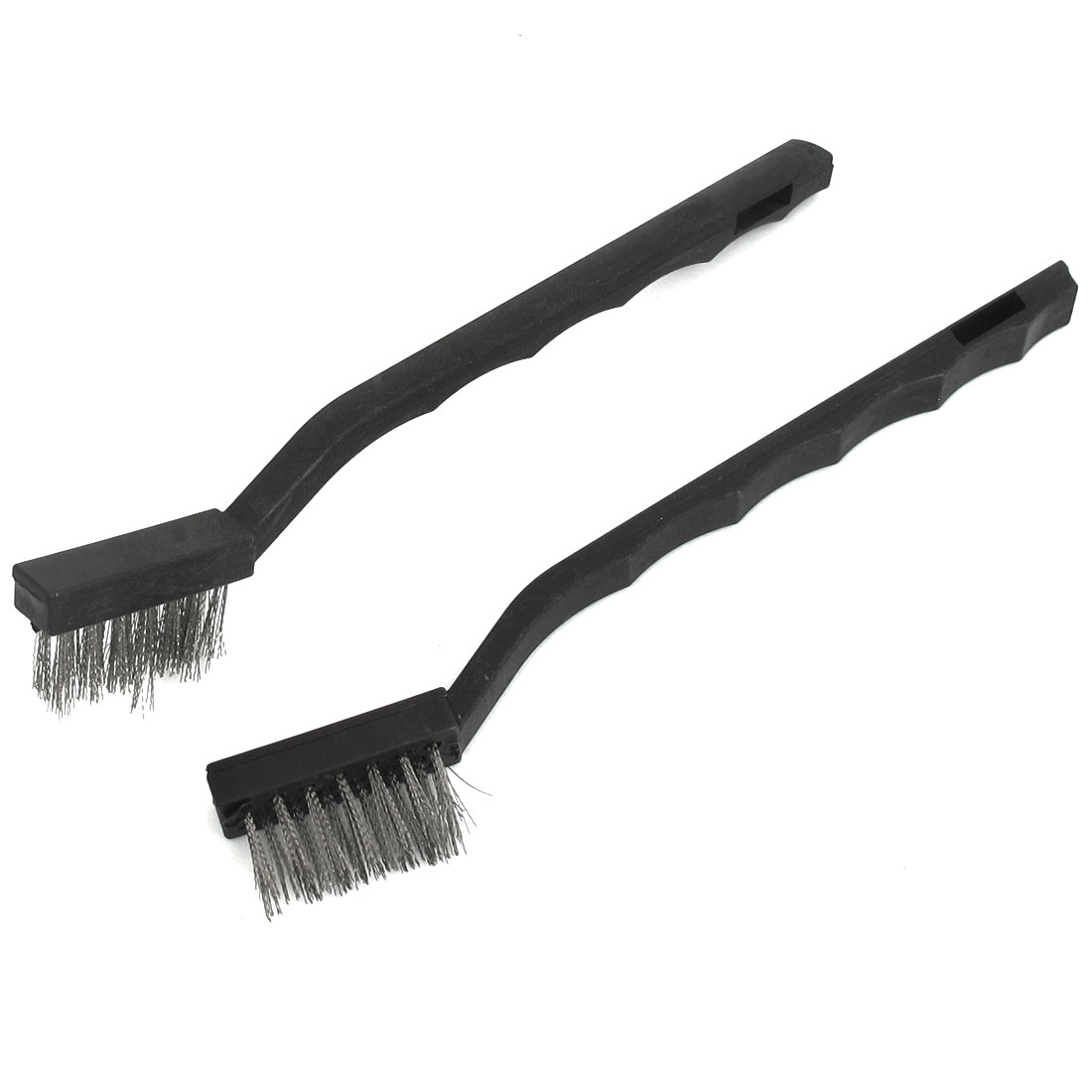 Black Plastic Handle Stainless Steel Wire Cleaning Tooth Brush 2pcs