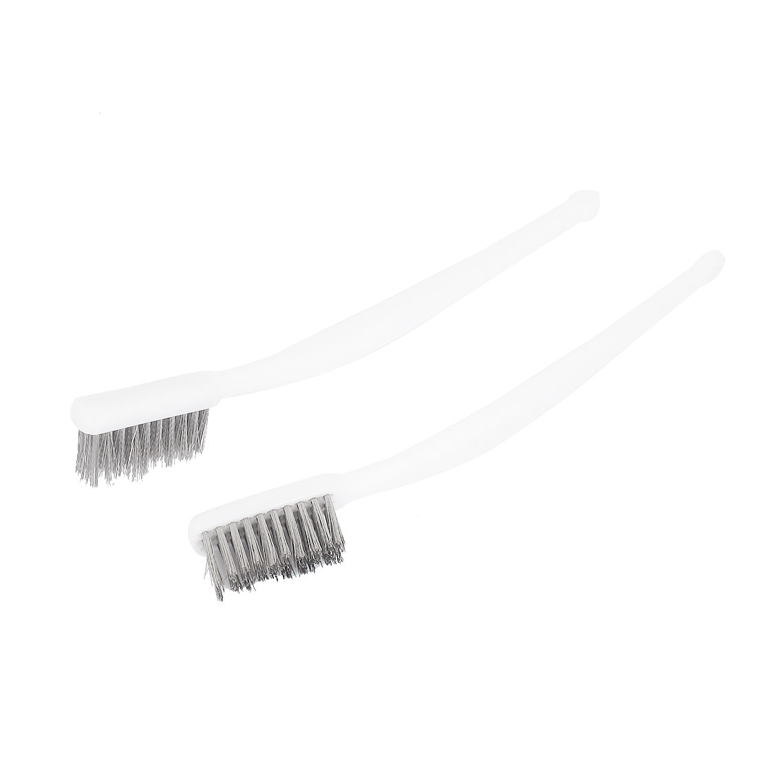 White Plastic Handle Stainless Steel Wire Cleaning Tooth Brush 2pcs
