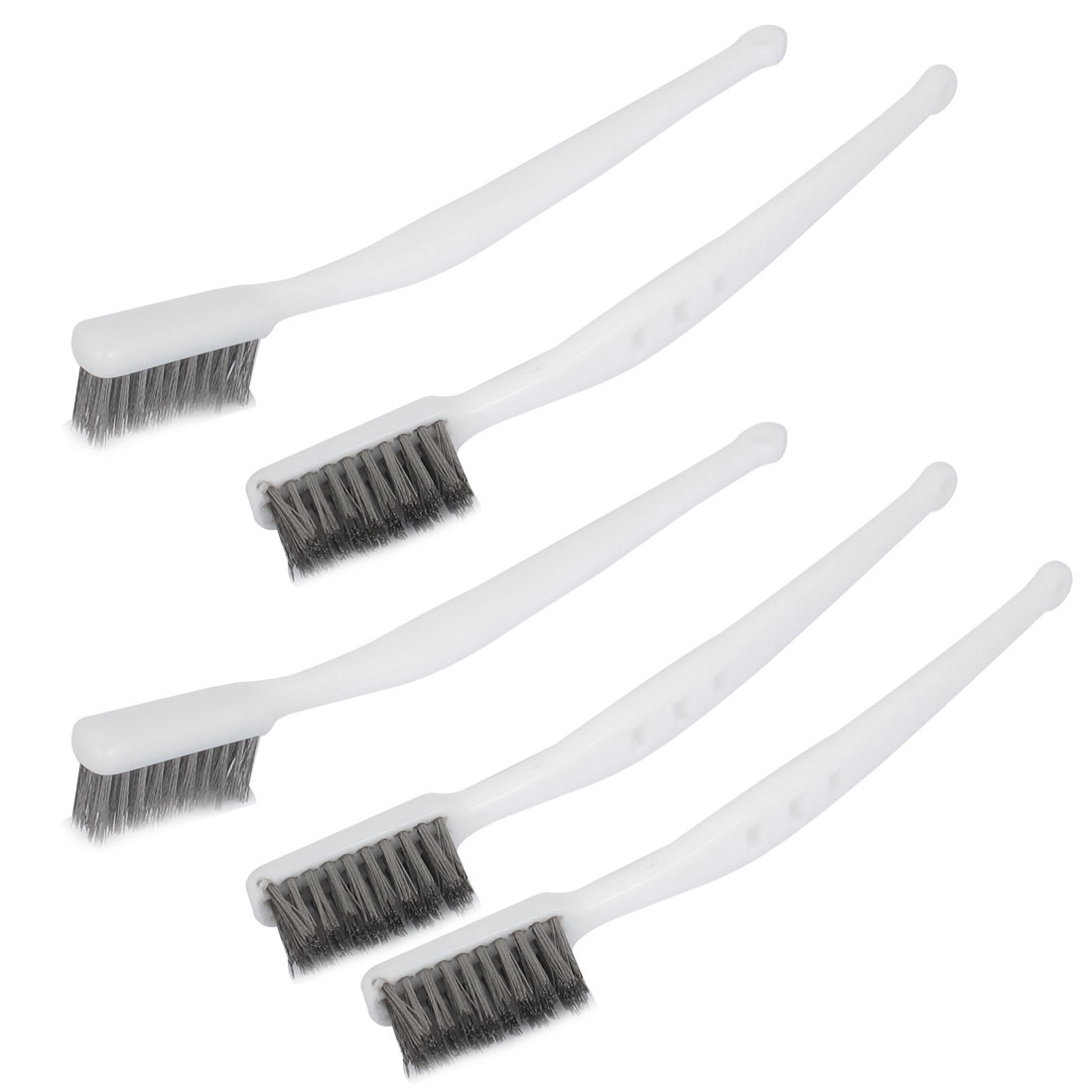 White Plastic Handle Stainless Steel Wire Cleaning Tooth Brush 5pcs