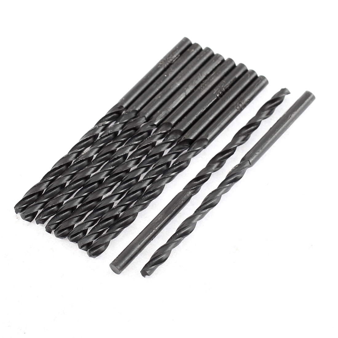 3.2mm Cutting Dia 65mm Length HSS Round Shank Twist Drill Bit Black 10pcs