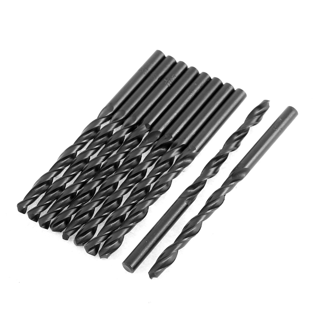 5mm Cutting Dia 85mm Length HSS Straight Shank Twist Drill Bit Black 10pcs