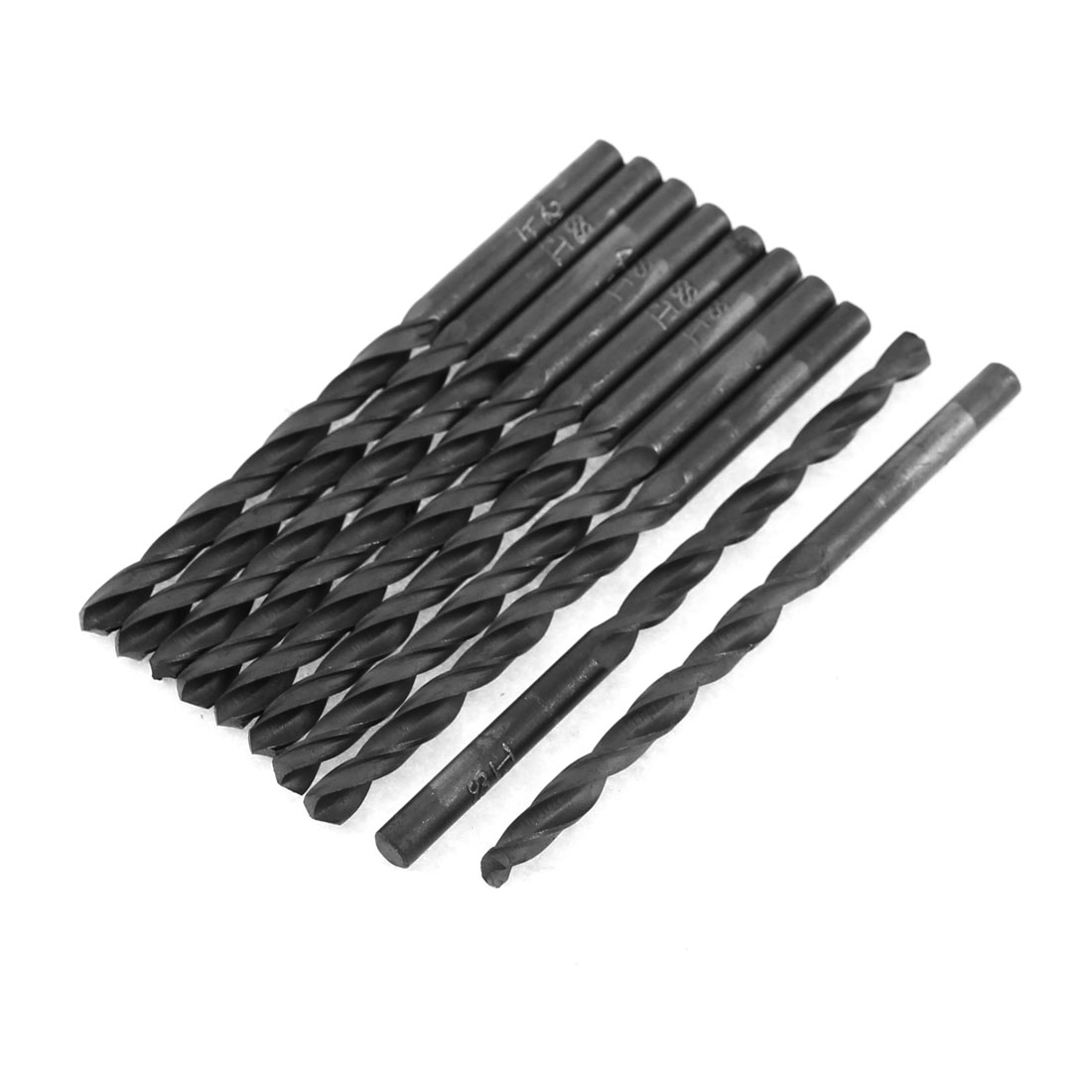 4.2mm Cutting Dia HSS Straight Round Shank Twist Drill Bit Black 10pcs