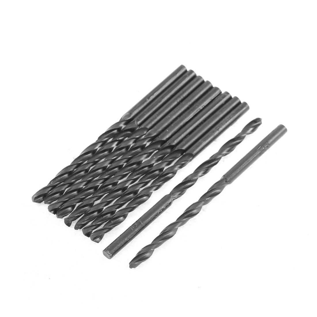 3.5mm Cutting Dia 70mm Length HSS Straight Shank Twist Drill Bit Black 10pcs