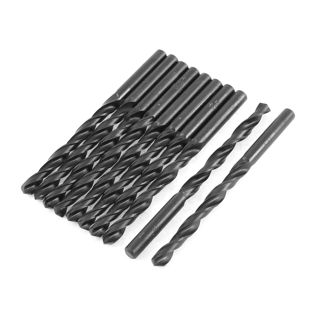 6mm Cutting Dia 90mm Length HSS Straight Shank Twist Drill Bit Black 10pcs
