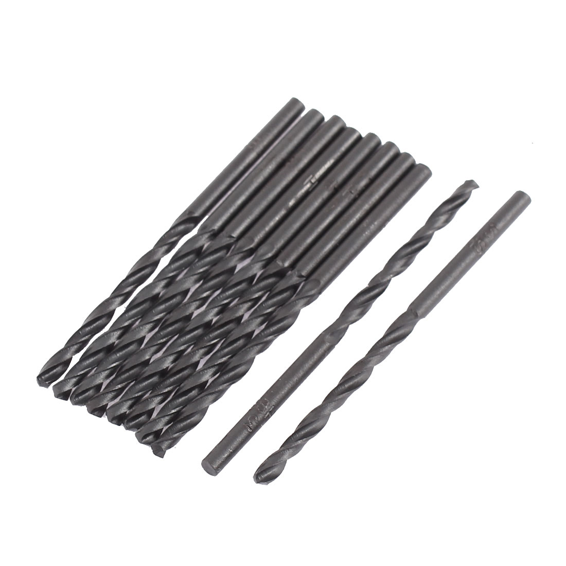 3mm Cutting Dia 60mm Length HSS Straight Shank Twist Drill Bit Black 10pcs
