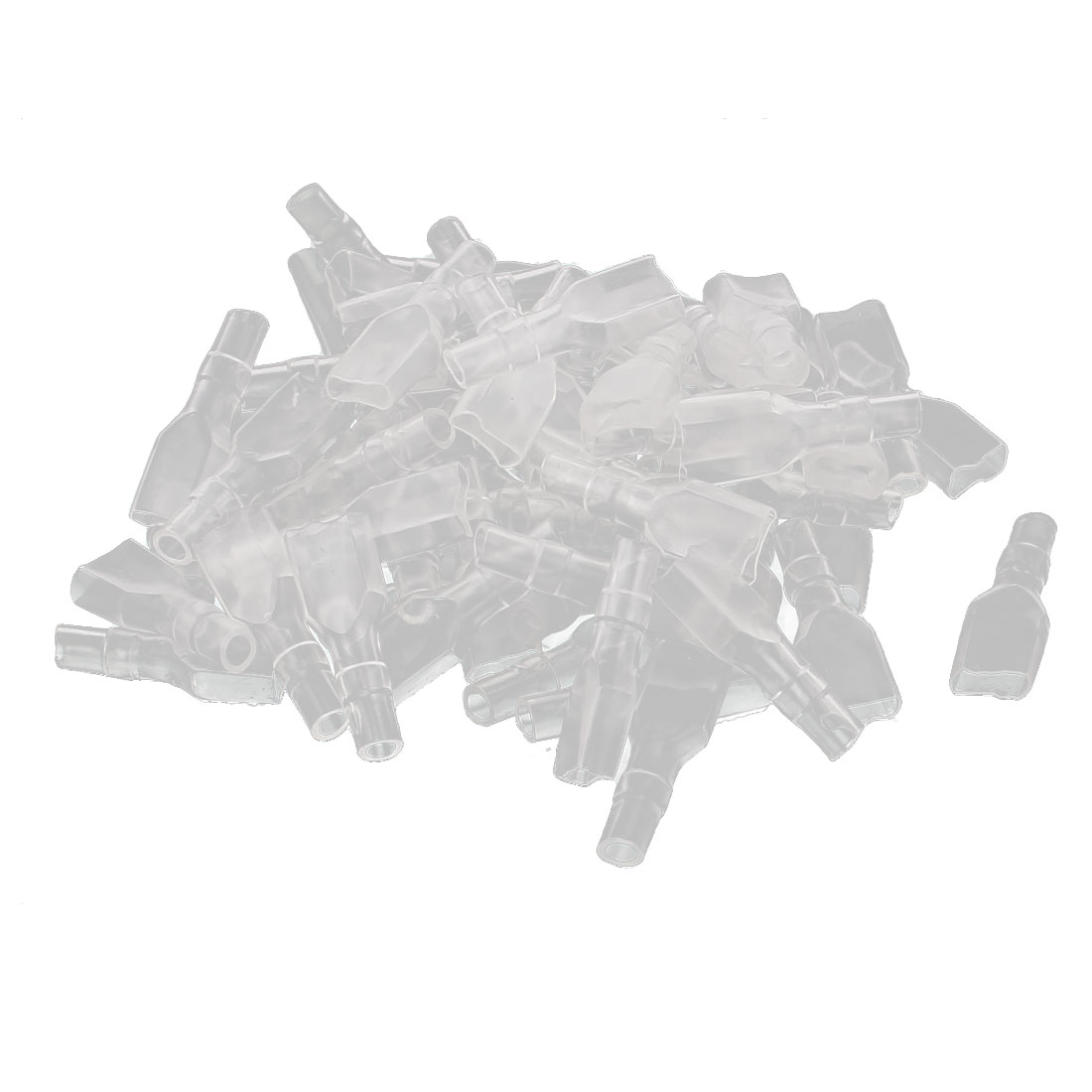 6.3mm Female Spade Wire Terminal Connector Insulated Cap Sleeve Cover Clear 70Pcs