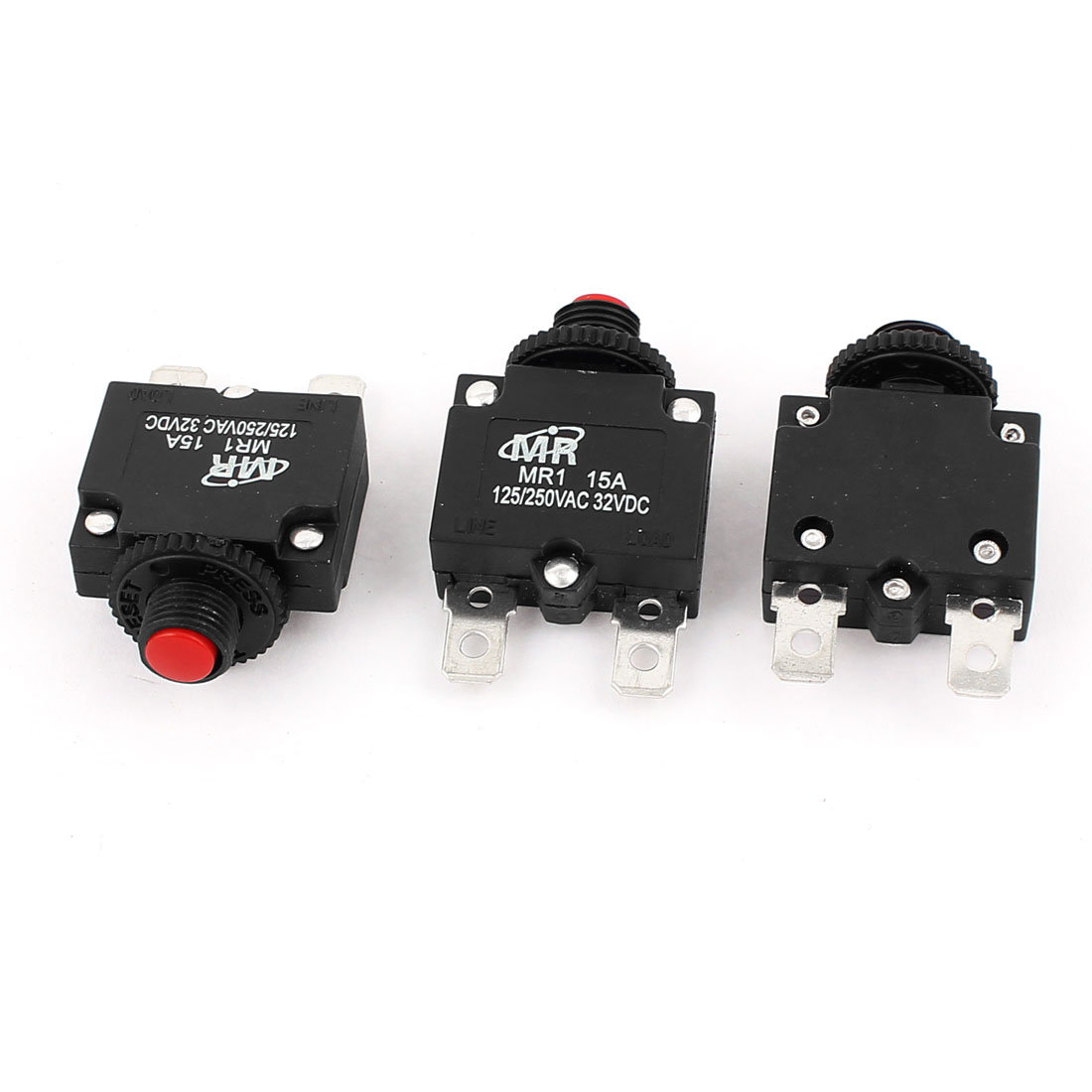 AC 125V/250V 15A Air Compressor Thermal Overload Protector Circuit Breaker 3Pcs