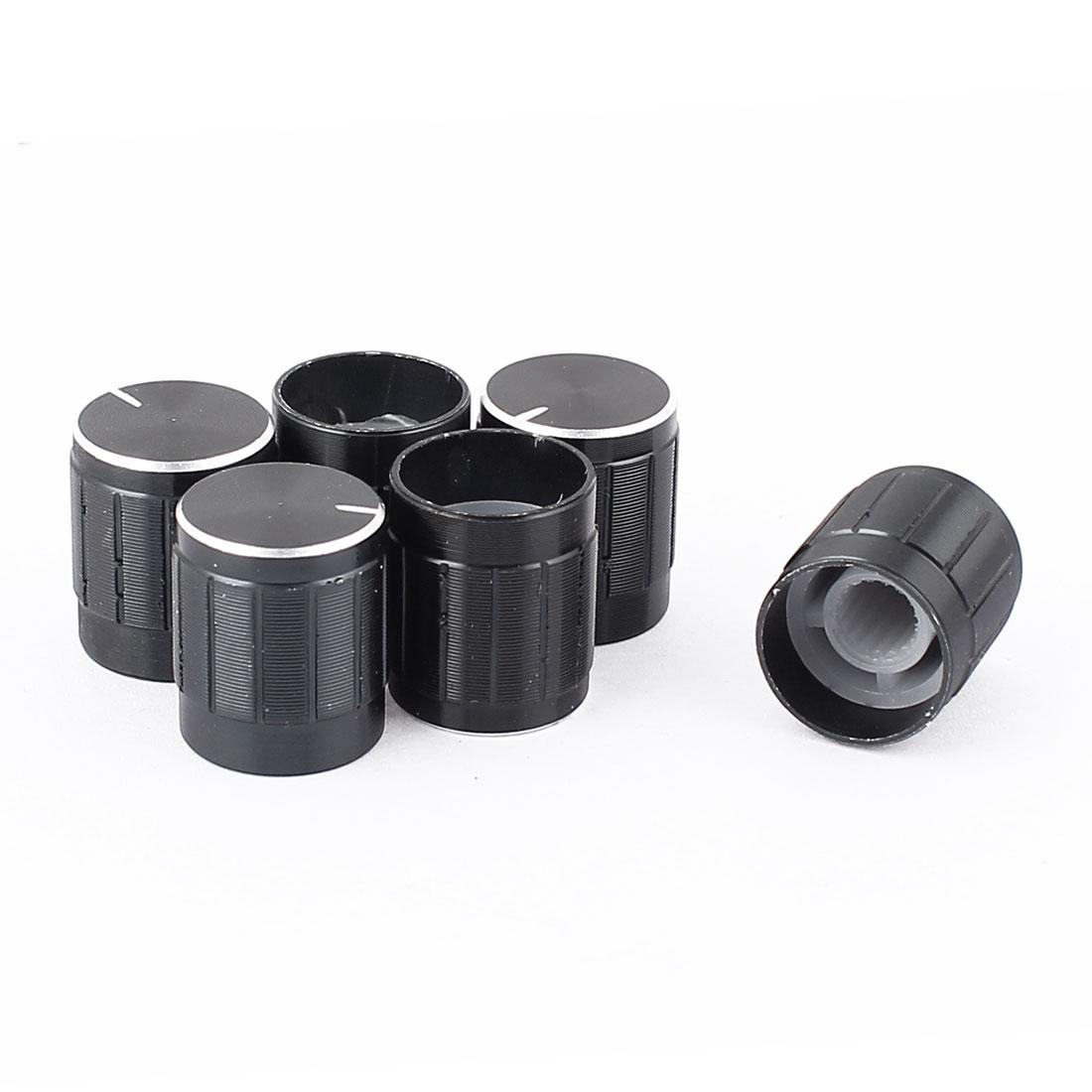 5mm Dia Shaft 17mm x 15mm Metal Round Potentiometer Rotary Knob Cap Black 6Pcs