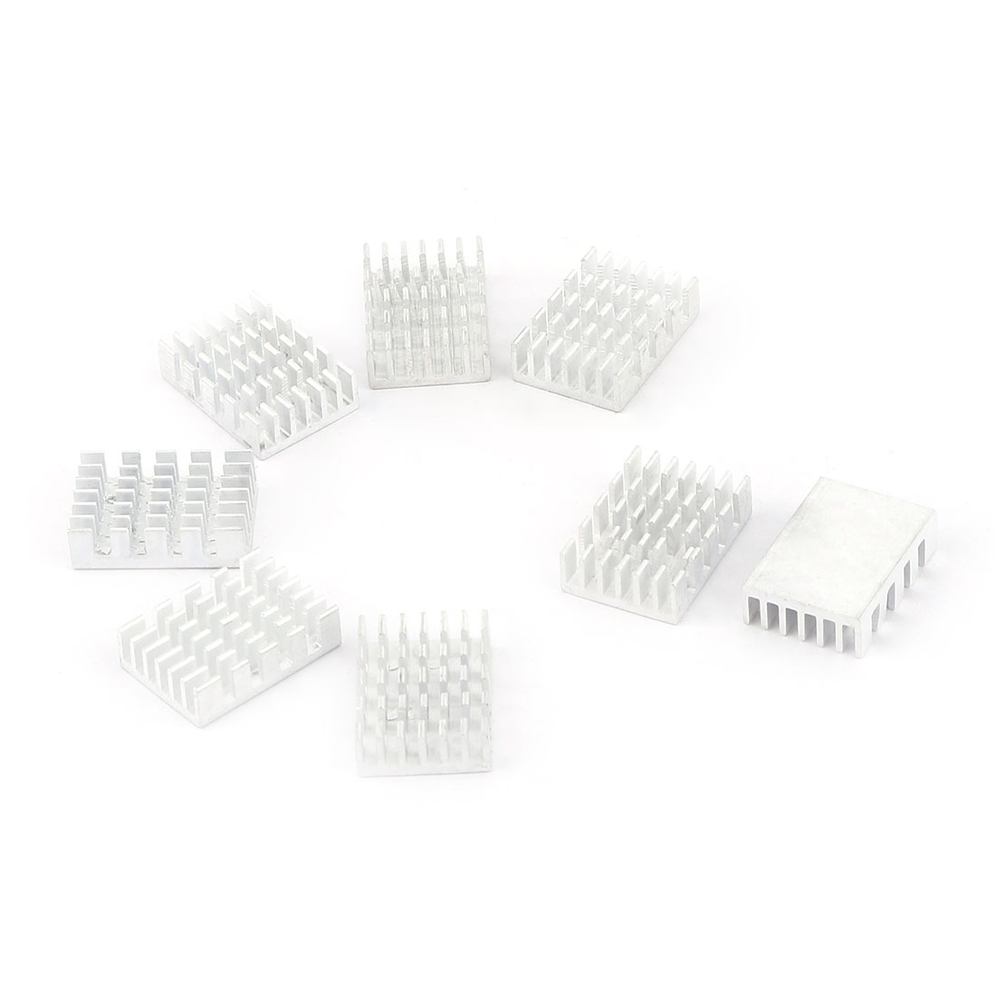 20mm x 14mm x 6mm LED Light Cooling Power Transistor Heatsink Cooler Silver Tone 8Pcs