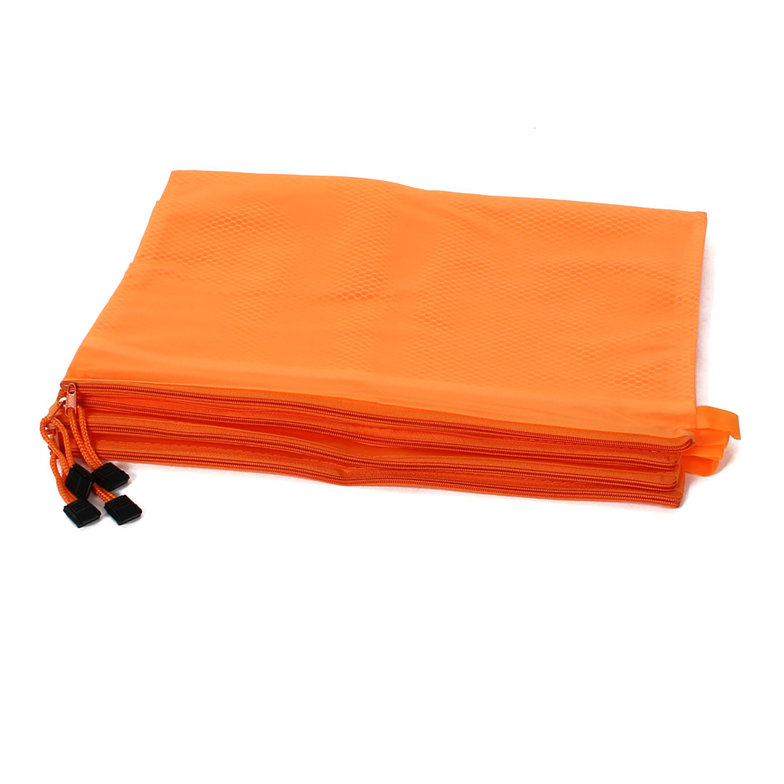Office Zipper Closure 2 Compartment A4 Size Paper Document File Bag Orange 4Pcs