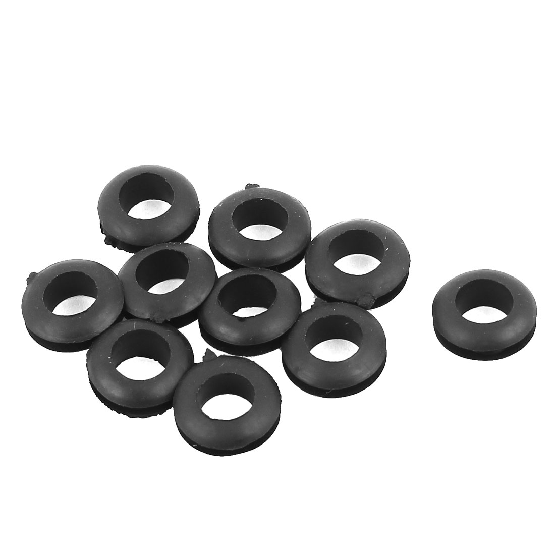8mm Inner Dia Double Sides Rubber Cable Wiring Grommets Gasket Ring 10Pcs