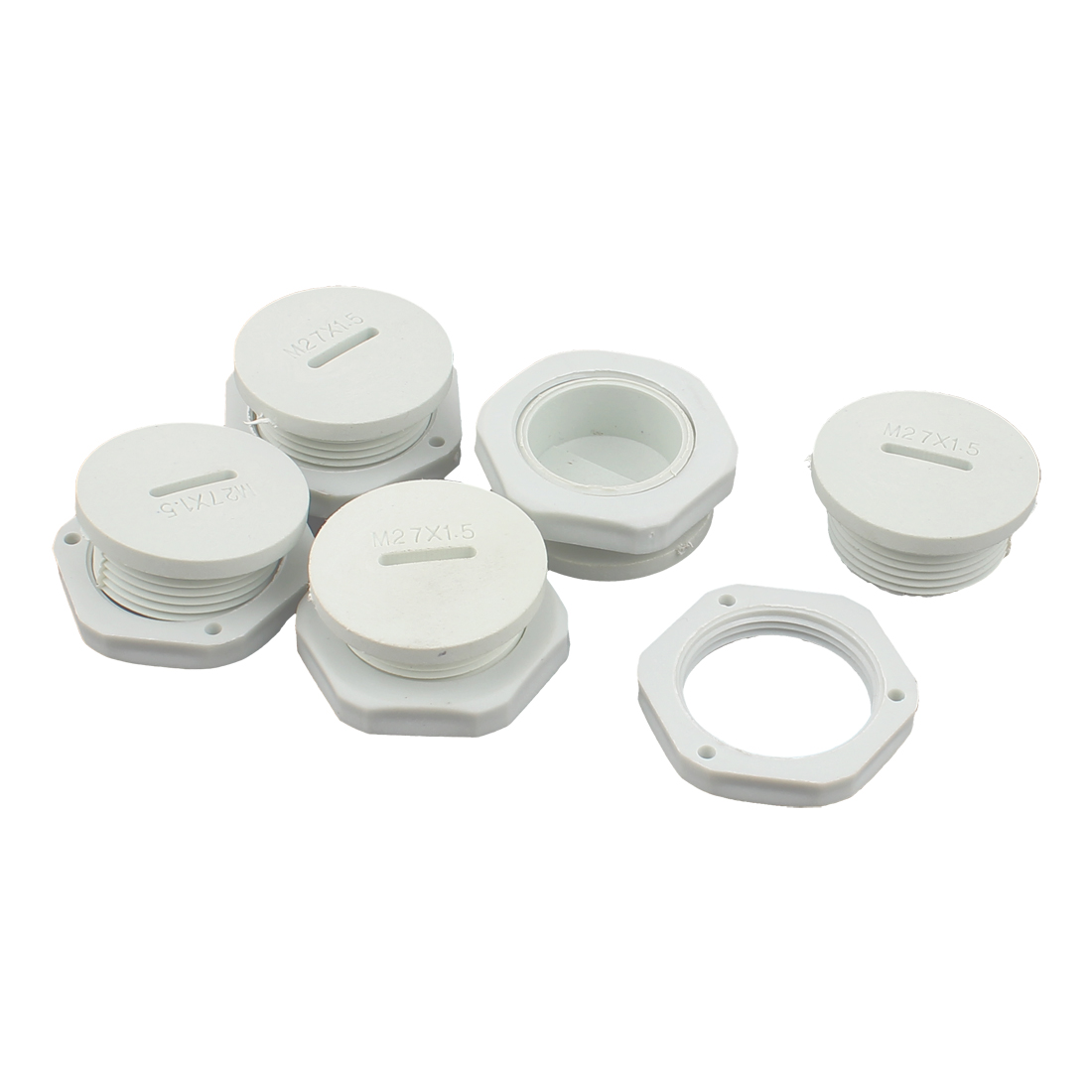 M16 x 1.5cm Plastic Round Head Pipe Adapter White 5Pcs