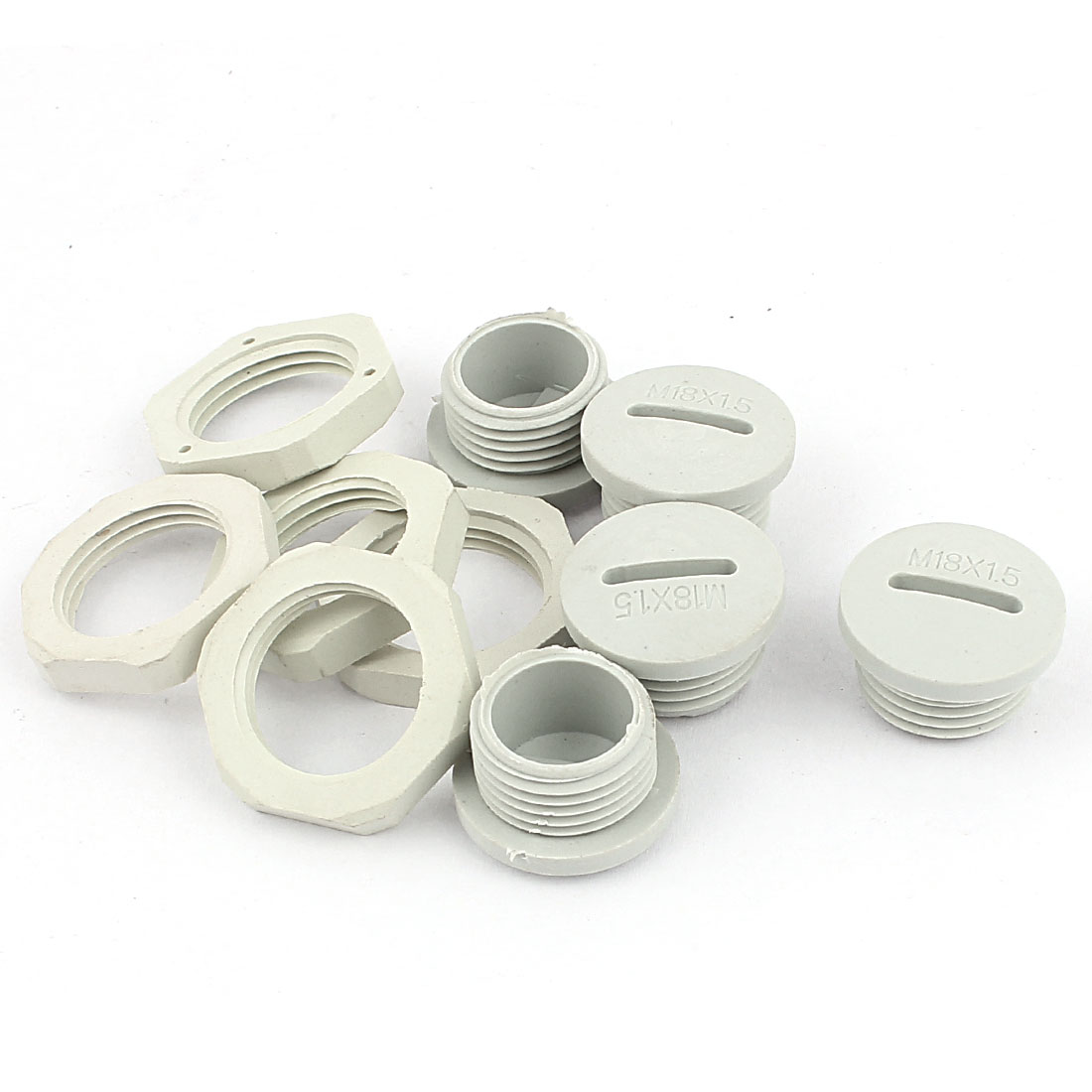 M18 x 1.5cm Plastic Round Head Pipe Plug Adapter White 5Pcs