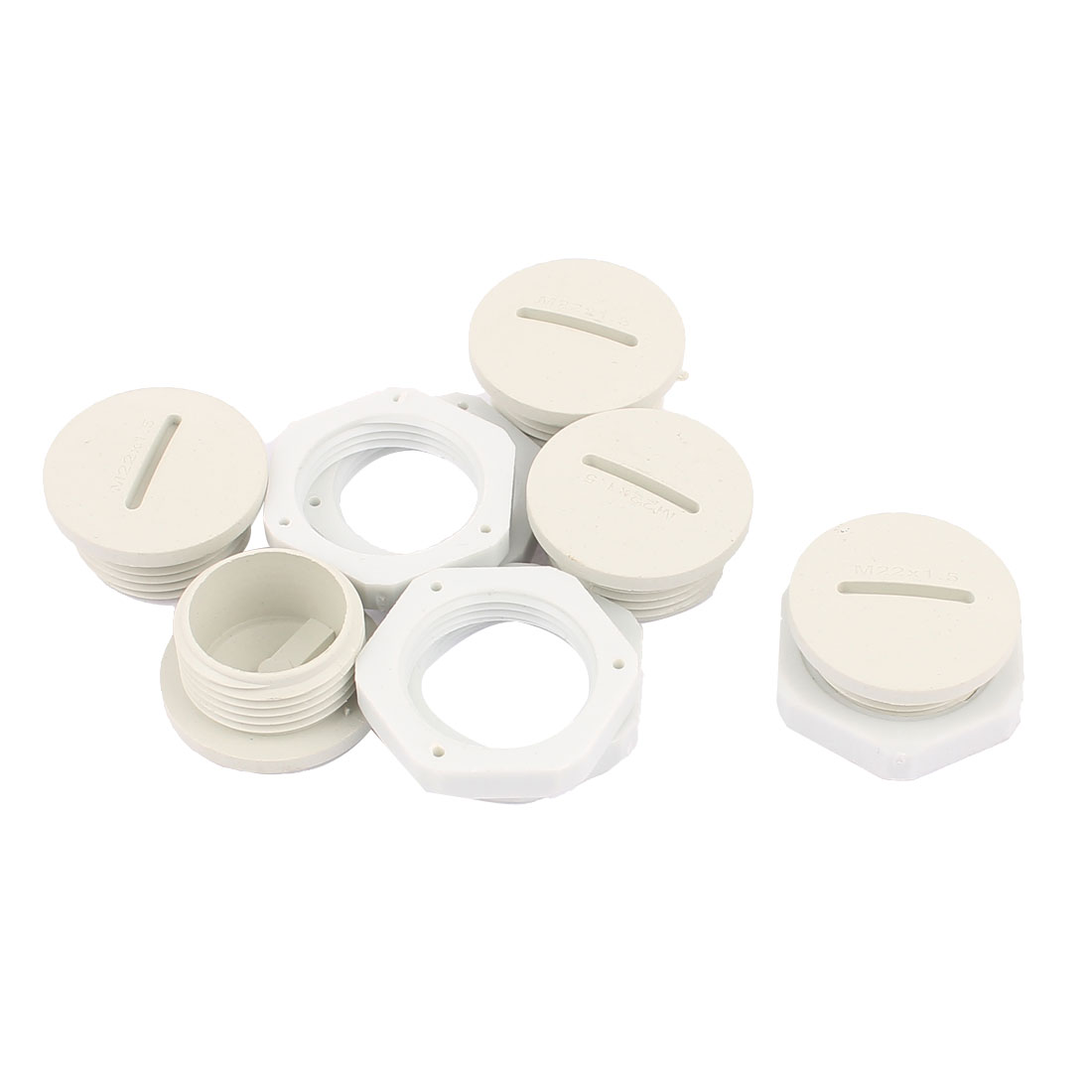 M22 x 1.5cm Plastic Round Head Pipe Adapter White 5Pcs