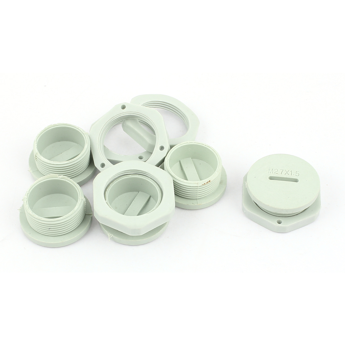 M27 x 1.5cm Plastic Round Head Pipe Plug Adapter White 5Pcs