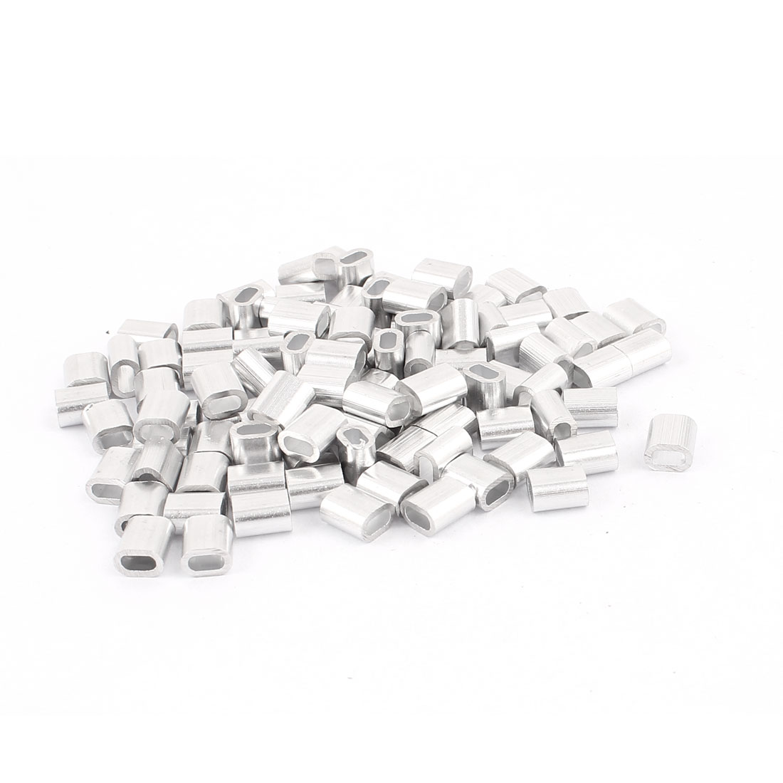 "2mm 5/64"" Steel Wire Rope Aluminum Ferrules Sleeves Silver Tone 100 Pcs"