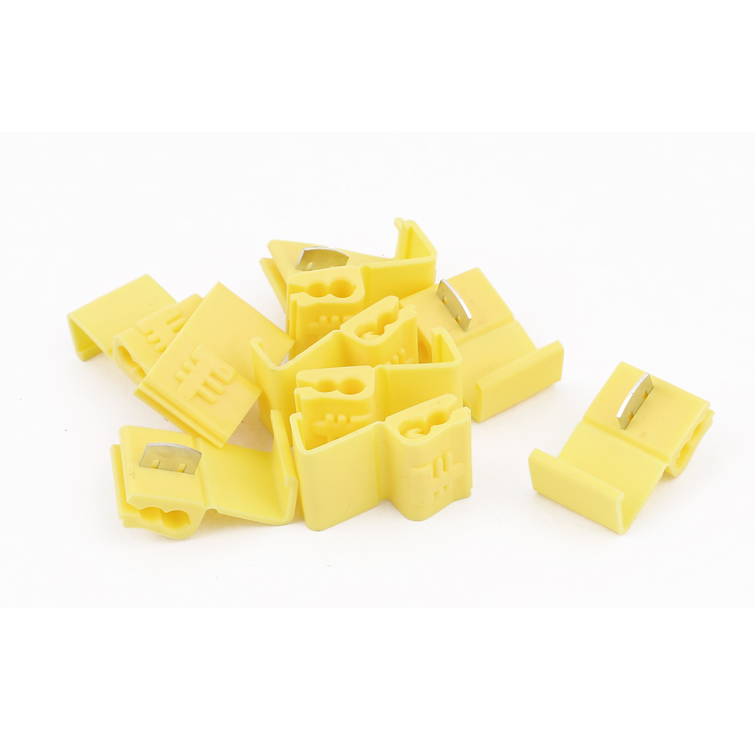 Car 2.5mm2 Cable Clip Solderless Wire Quick Splice Connector Yellow 10Pcs