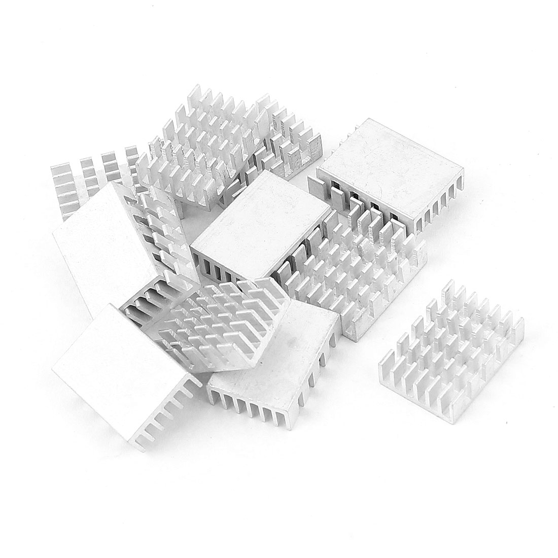 20mm x 14mm x 6mm LED Light Cooling Power Transistor Heatsink Cooler Silver Tone 14Pcs