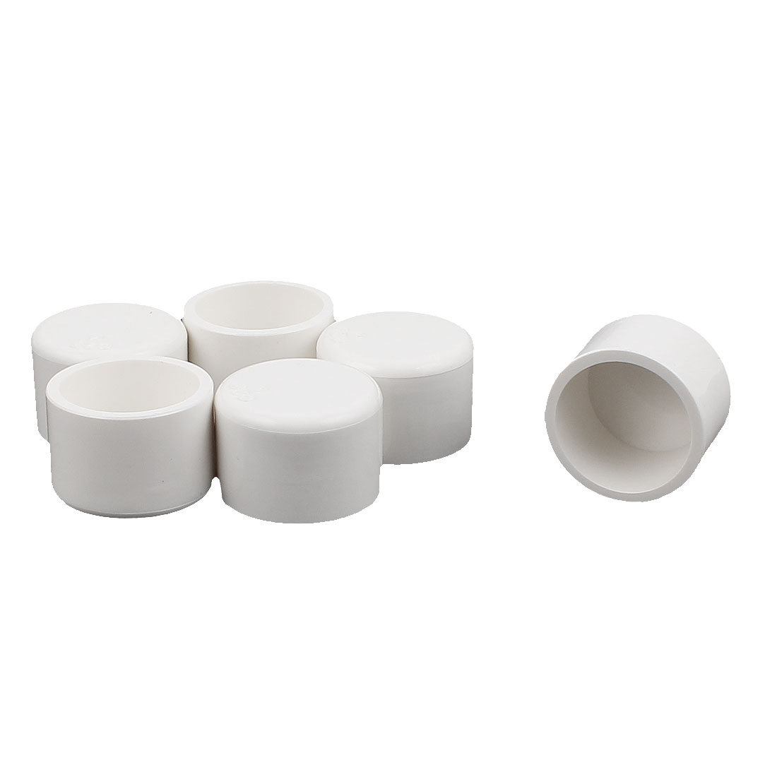 6Pcs Round Water Tubing Tube Pipe Fitting End Cap Cover White 25mm Inner Dia