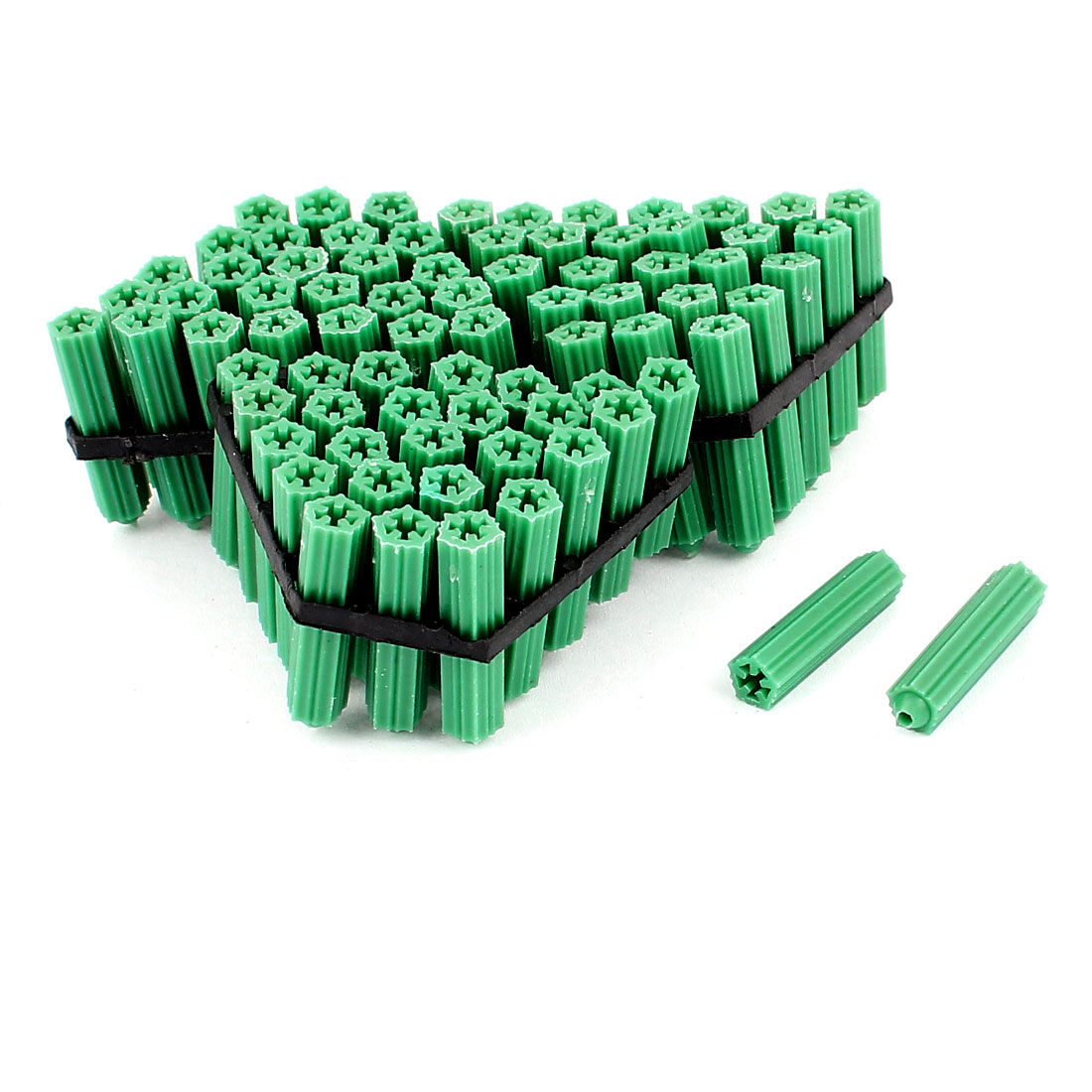 29mm x 7mm Plastic Screw Fixing Anchor Wall Stopper Fastener Green 100Pcs