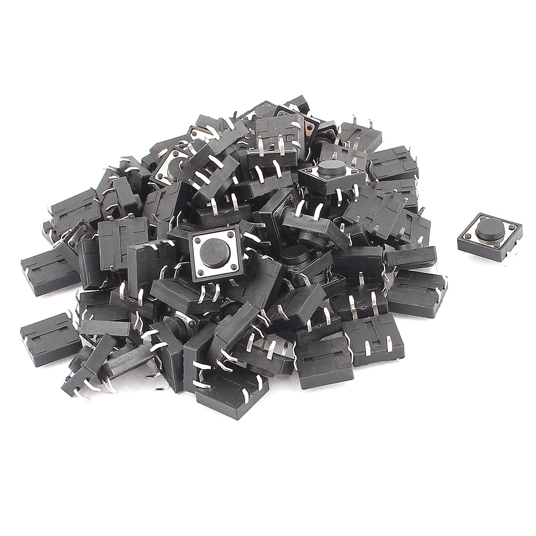 12mm x 12mm x 5mm 4 Terminal Momentary Tactile Tact Push Button Switch 100Pcs