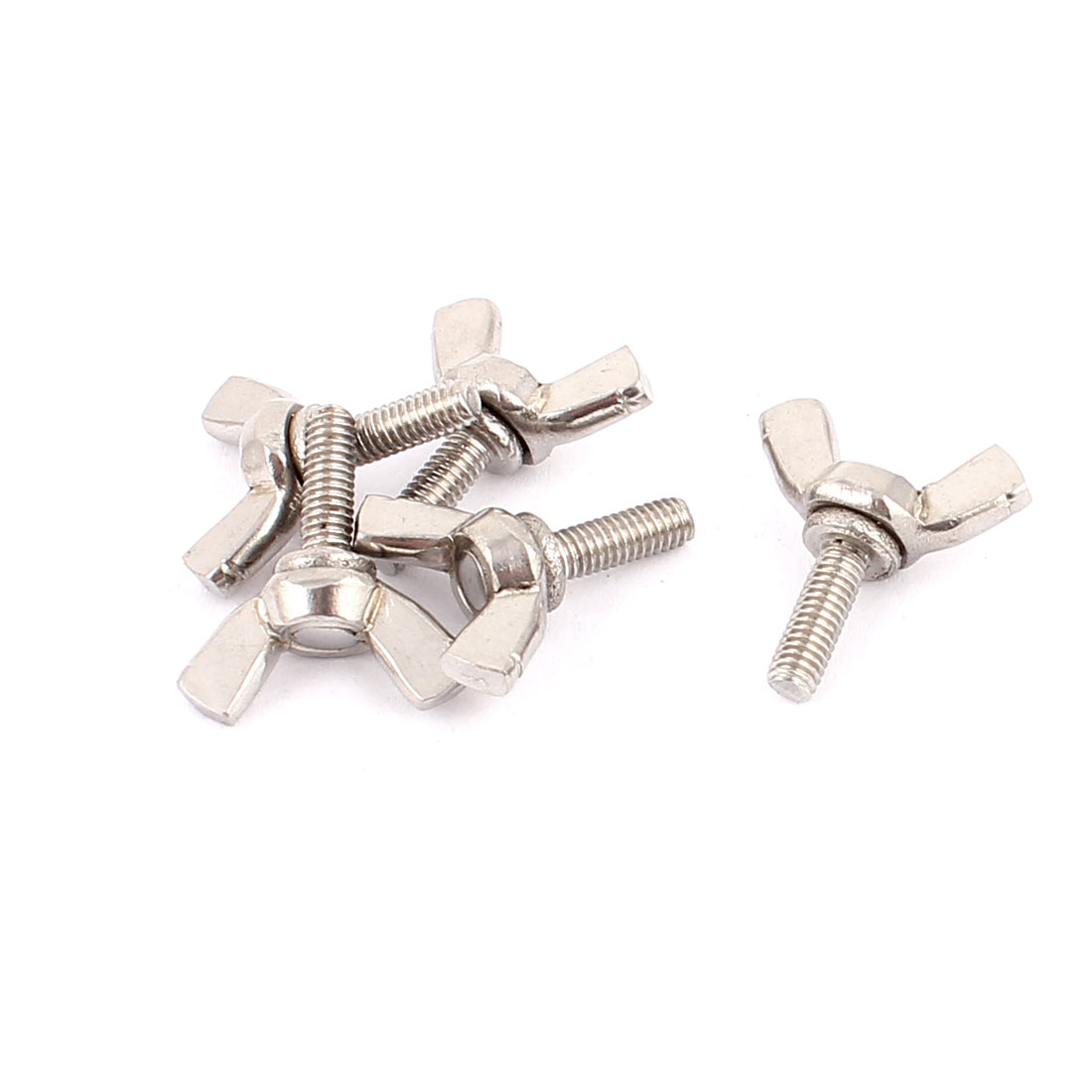 5pcs 304 Stainless Steel M4x12mm Thread Butterfly Head Wing Screws Bolts