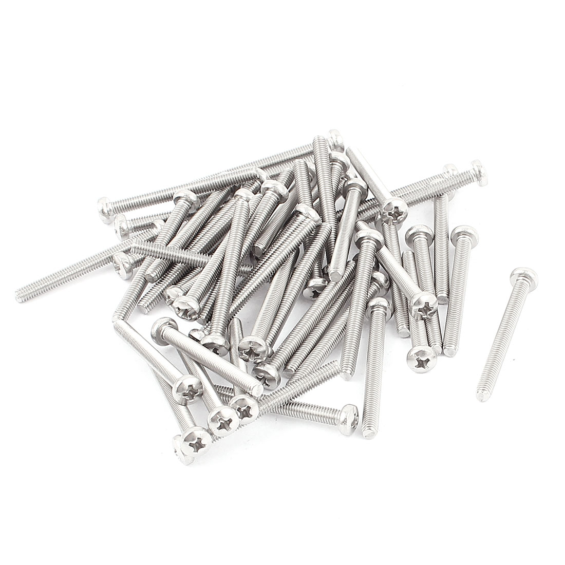 M3x30mm Round Phillips Head Screw Bolts Silver Tone 50pcs