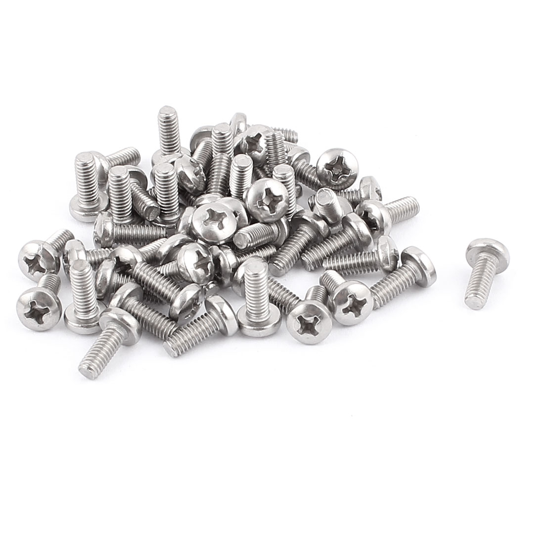 M4x10mm Thread Round Cap Phillips Screw Bolt Fasteners 50pcs