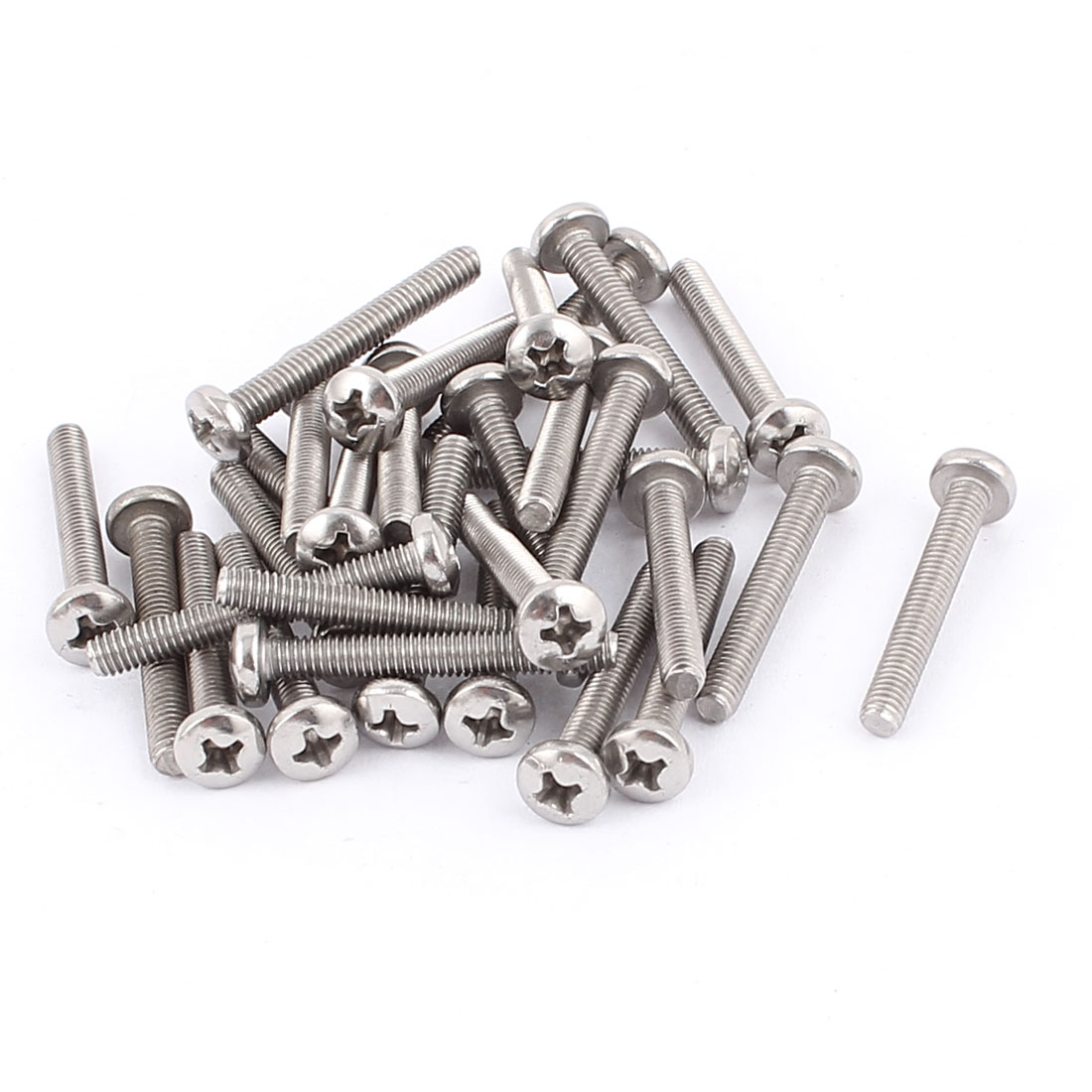 M4x30mm Thread 304 Stainless Steel Cross Head Phillips Screw Bolt 30pcs