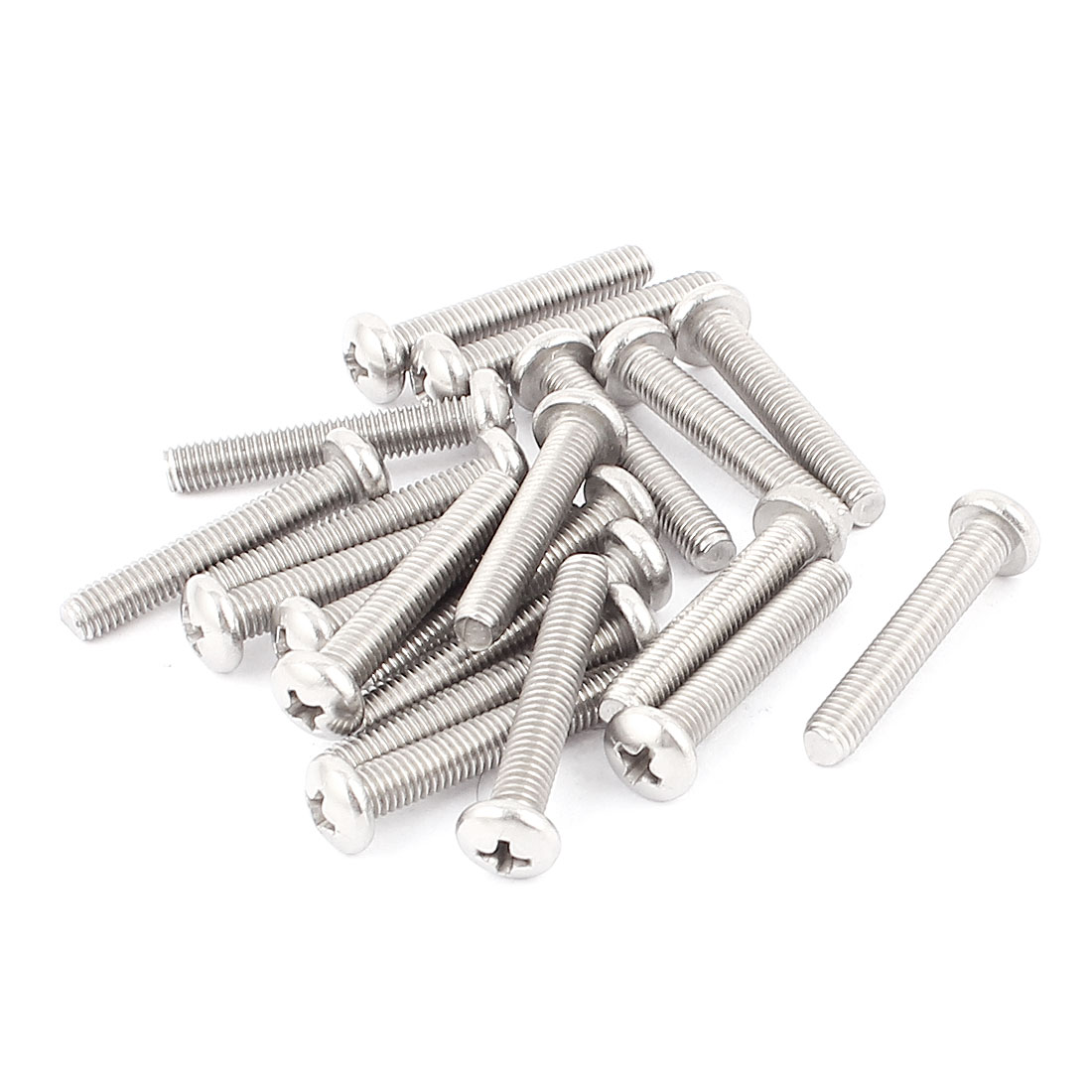 M5x30mm 304 Stainless Steel Round-Head Phillips Drive Screws 20pcs