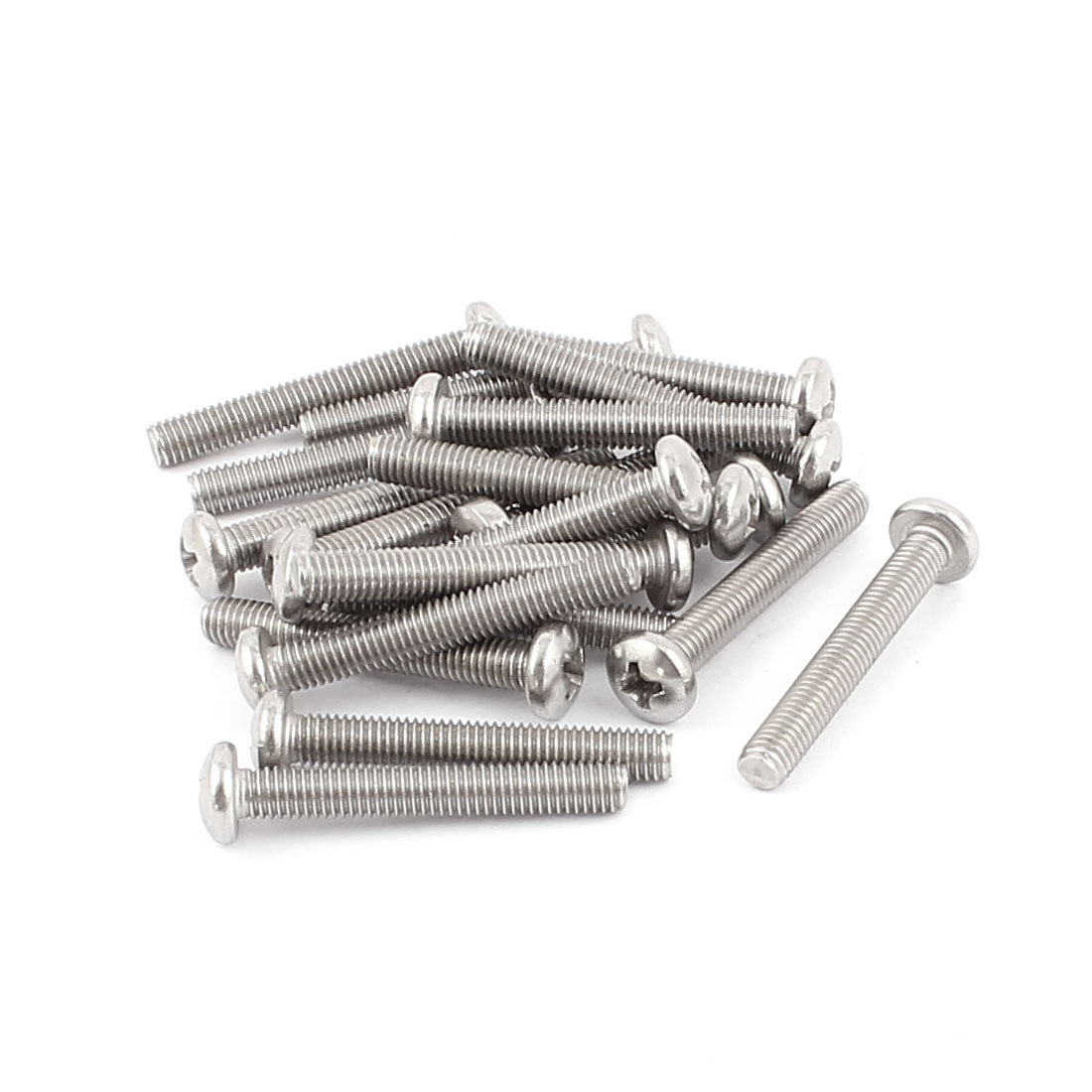 M5x35mm 304 Stainless Steel Phillips Round Head Machine Screw 20pcs