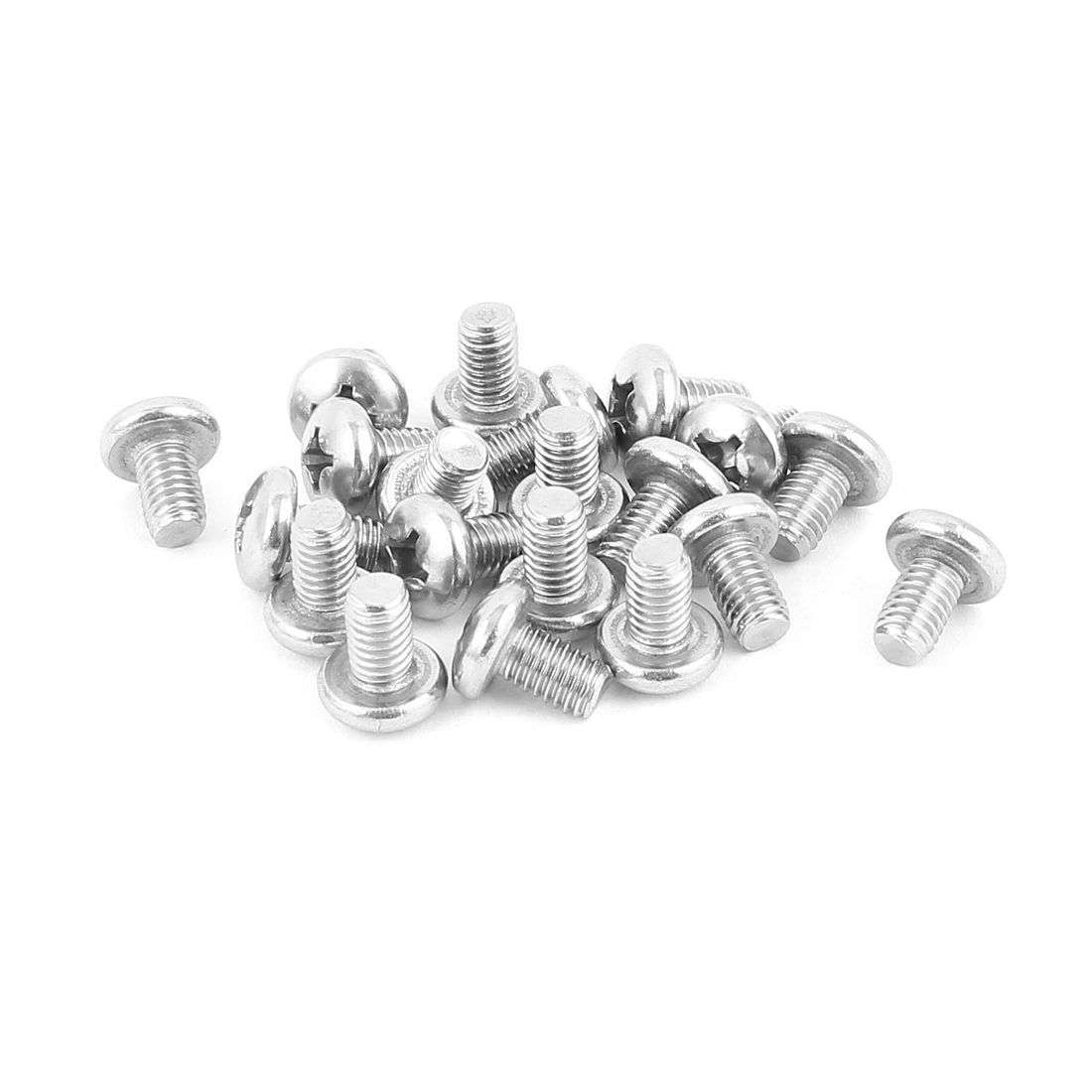 M6x10mm 304 Stainless Steel Round Cross Head Phillips Screws 20pcs