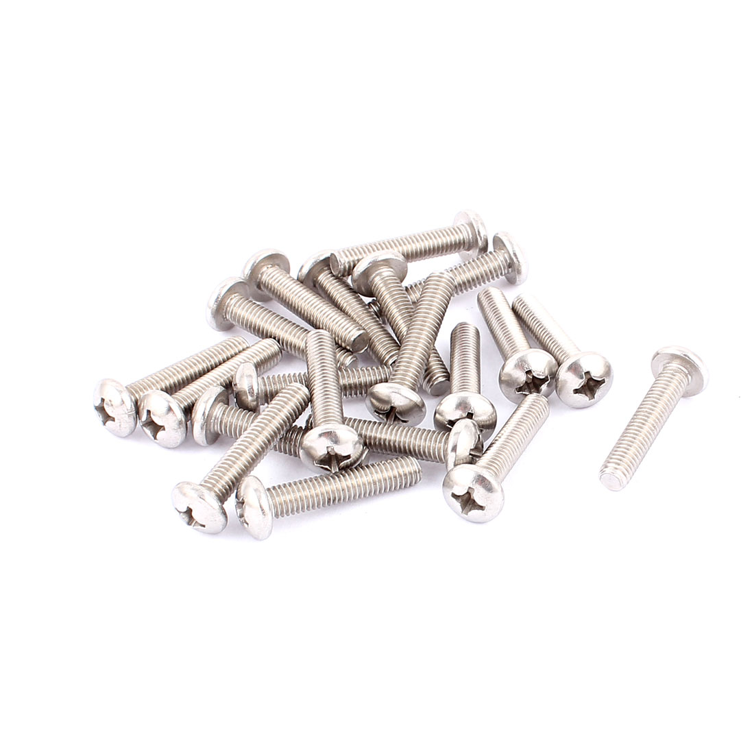 M6x30mm Cross Round Head Phillips Screws Fasteners Silver Tone 20pcs