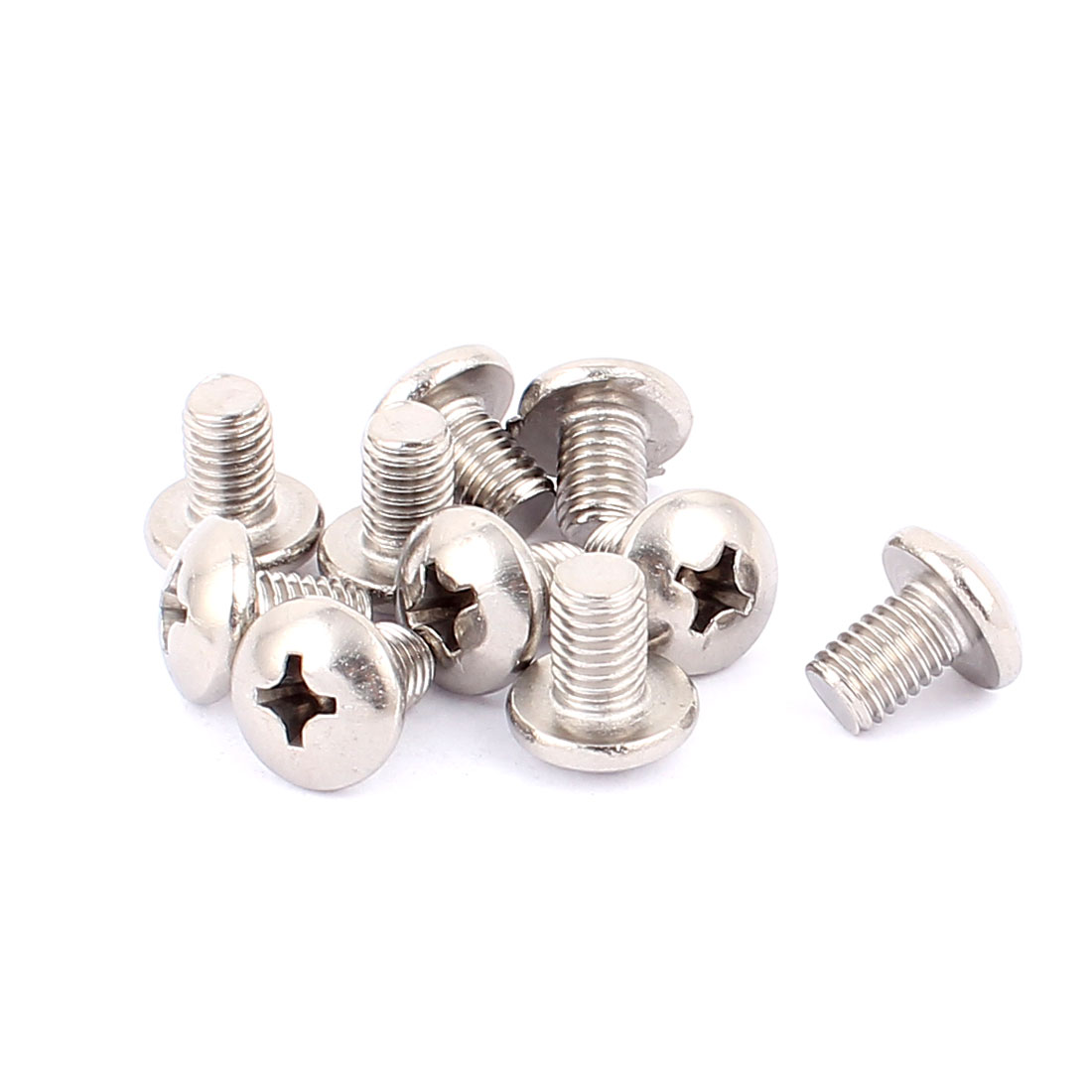 M8x12mm Thread 1.25mm Pitch Round Head Phillips Screws Bolts 10pcs