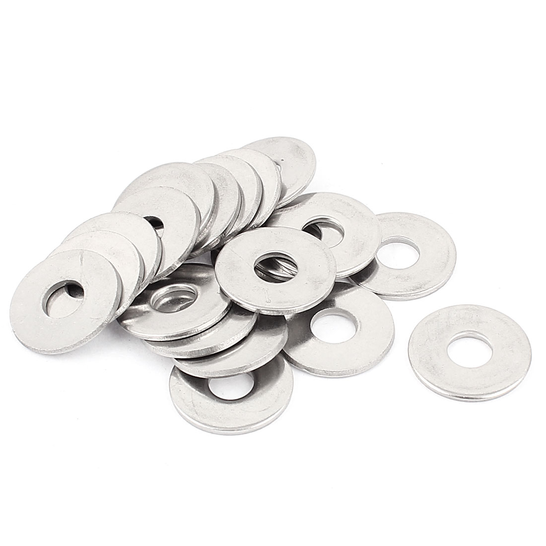 20pcs M8 304 Stainless Steel Flat Plain Washer Spacer Silver Tone