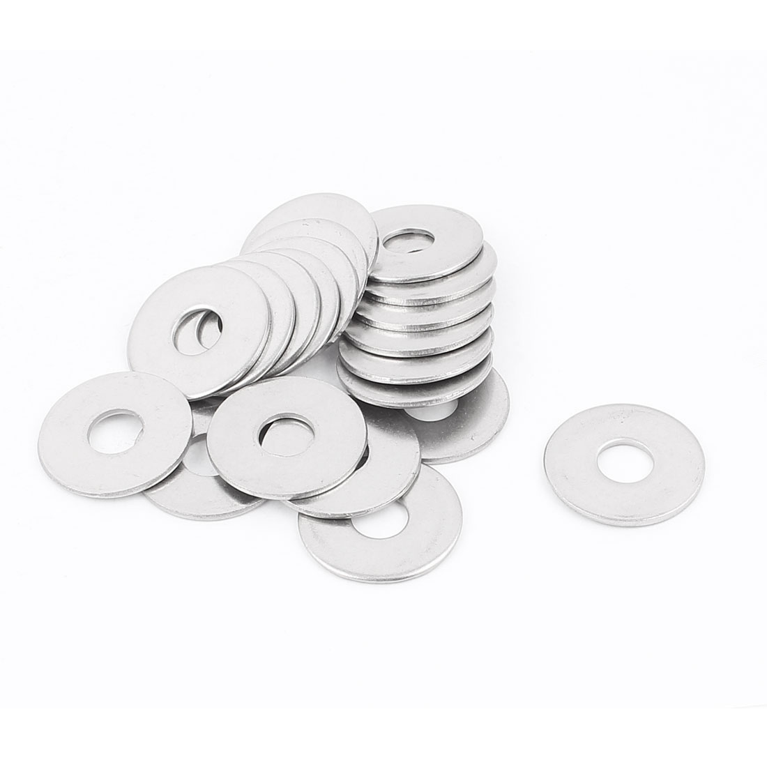 8mm Hole Size 304 Stainless Steel Plain Finish Flat Washer Gasket 20pcs