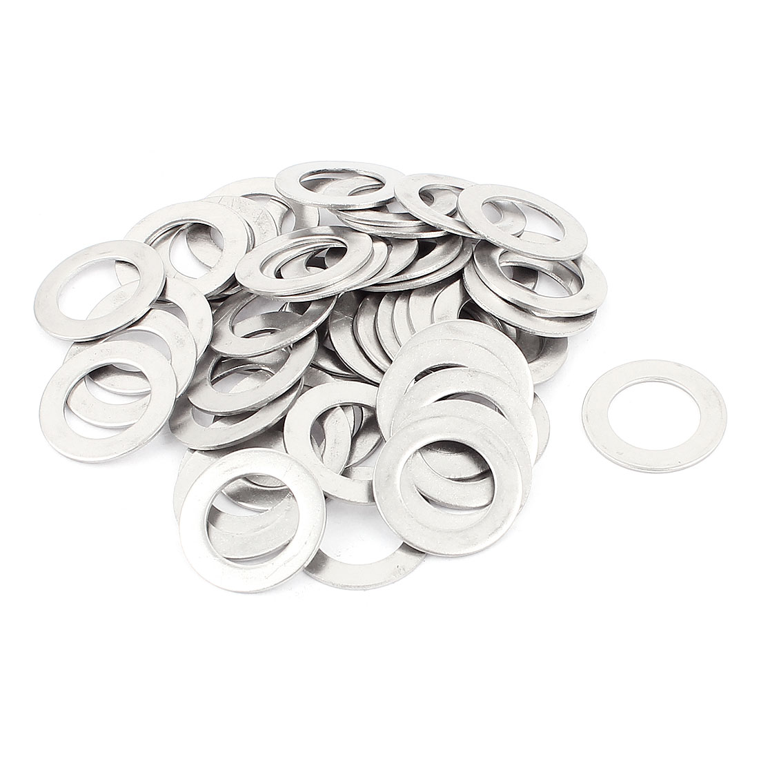 M12.8x20.8x1mm 304 Stainless Steel Plain Finish Flat Washer 50pcs