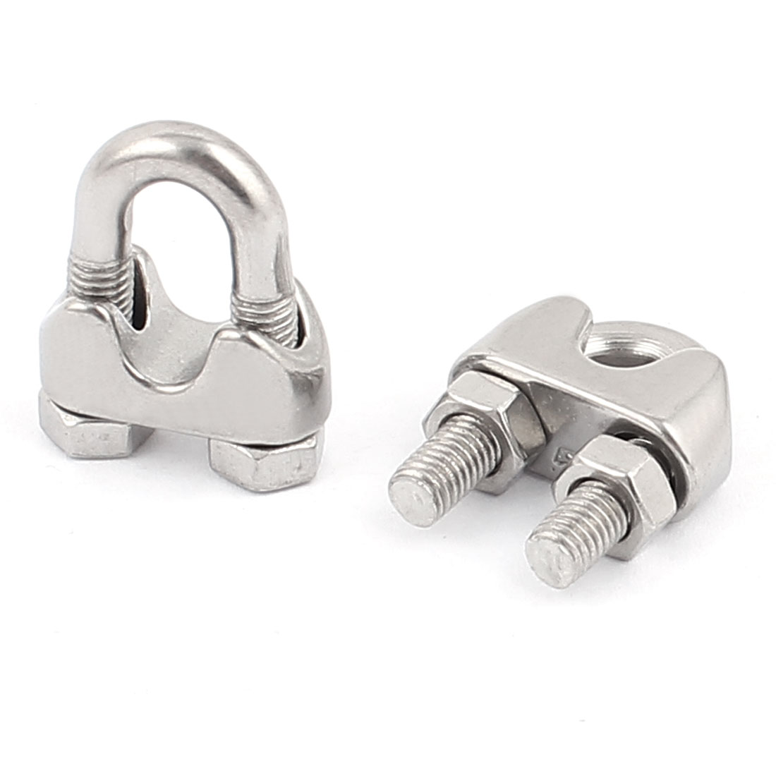 M5 304 Stainless Steel Commercial Wire Rope Clip Cable Clamp 2pcs