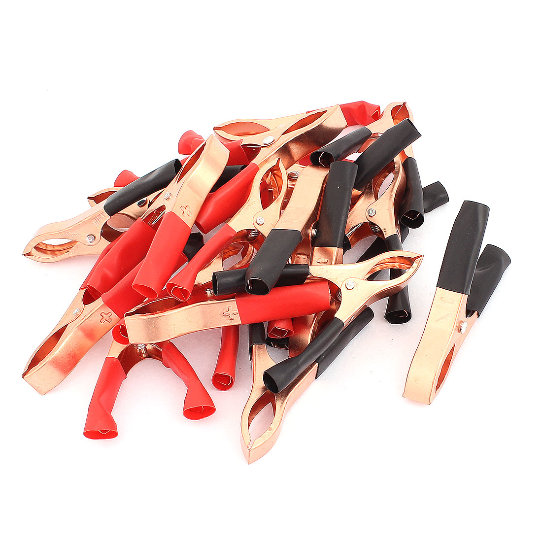30A Plastic Coated Handle Insulating Alligator Clip Clamp Car Battery Test 20 Pcs Black Red