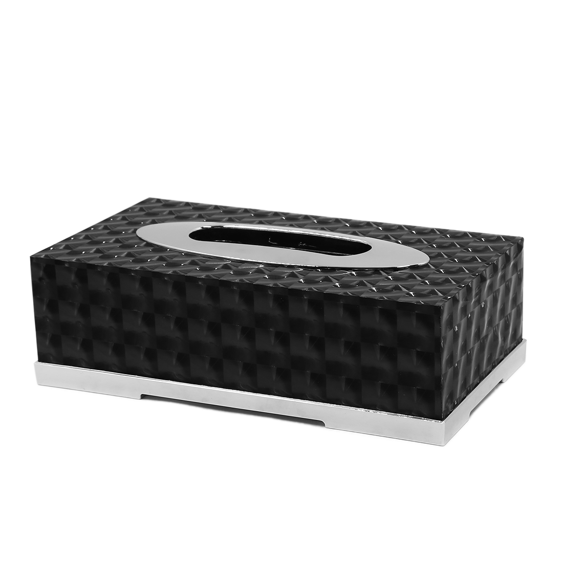 Black Metal Rectangular Napkin Paper Holder Case Tissue Box for Car Home Office
