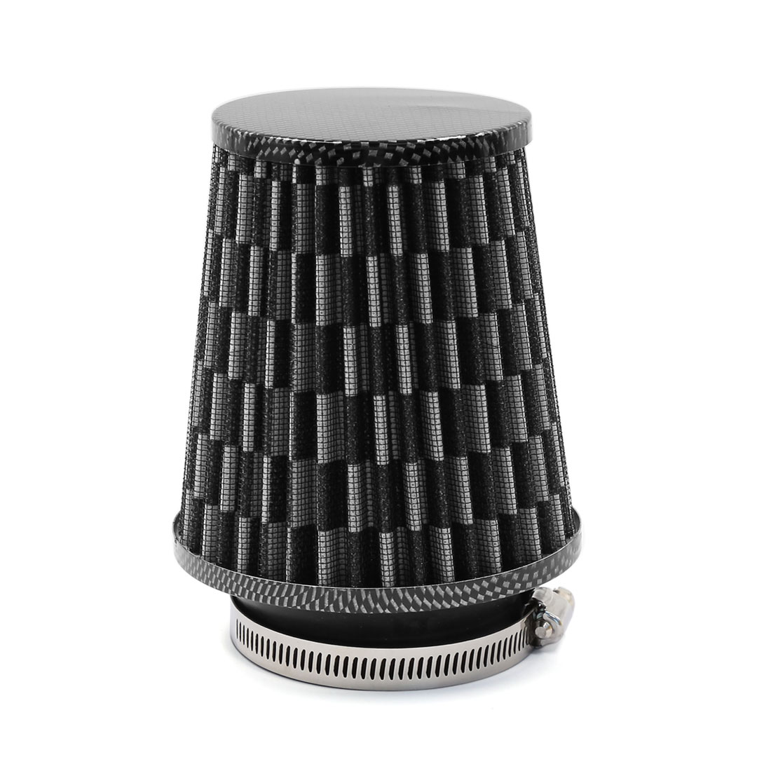 Car 75mm Inlet Dia Carbon Fiber Pattern High Flow Cold Air Intake Cone Filter