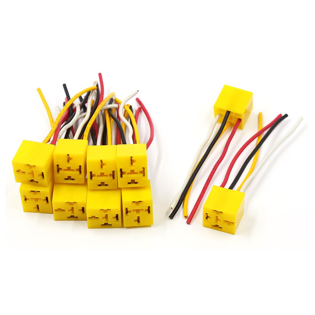DC 12V 4 Pins 4 Wires Auto Car Relay Socket Harness Connector 10 Pcs