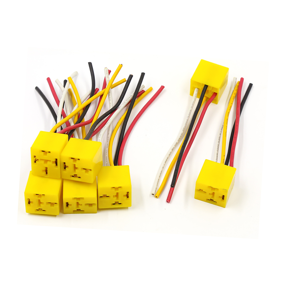 7 Pcs Yellow Plastic Base Coil 4 Pin Wire Car Relay Socket Harness Connector 12V