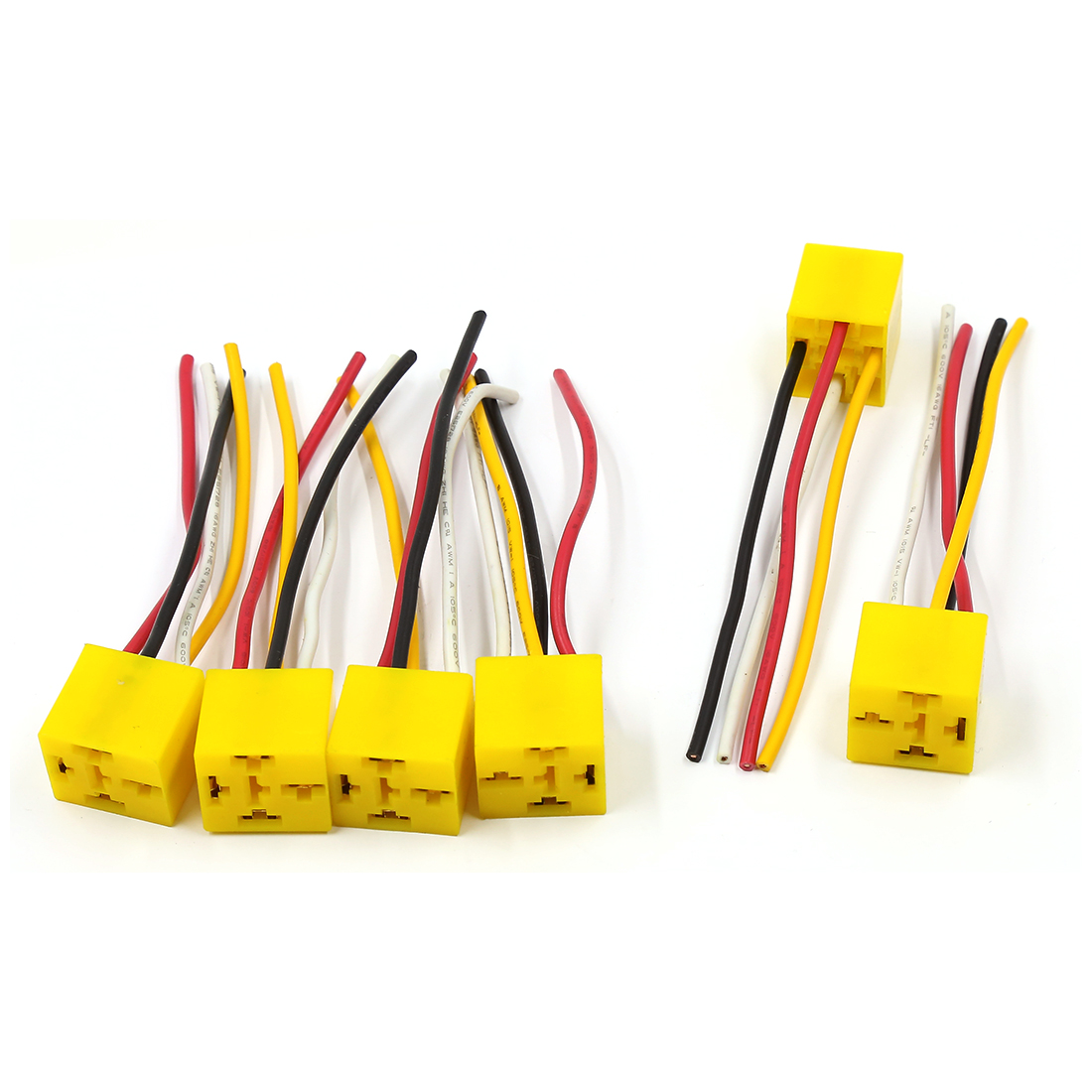 6 Pcs 4 Pins Automotive Car Wiring Harness Relay Socket Holder Connector DC 12V